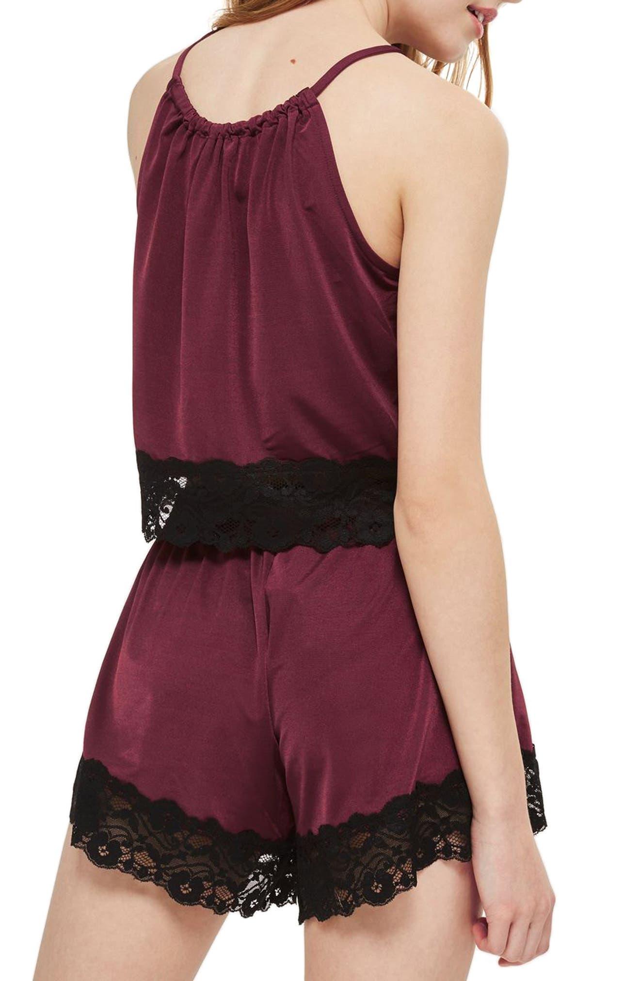 Jersey Satin & Lace Short Pajama Shorts,                             Alternate thumbnail 3, color,                             Berry Multi