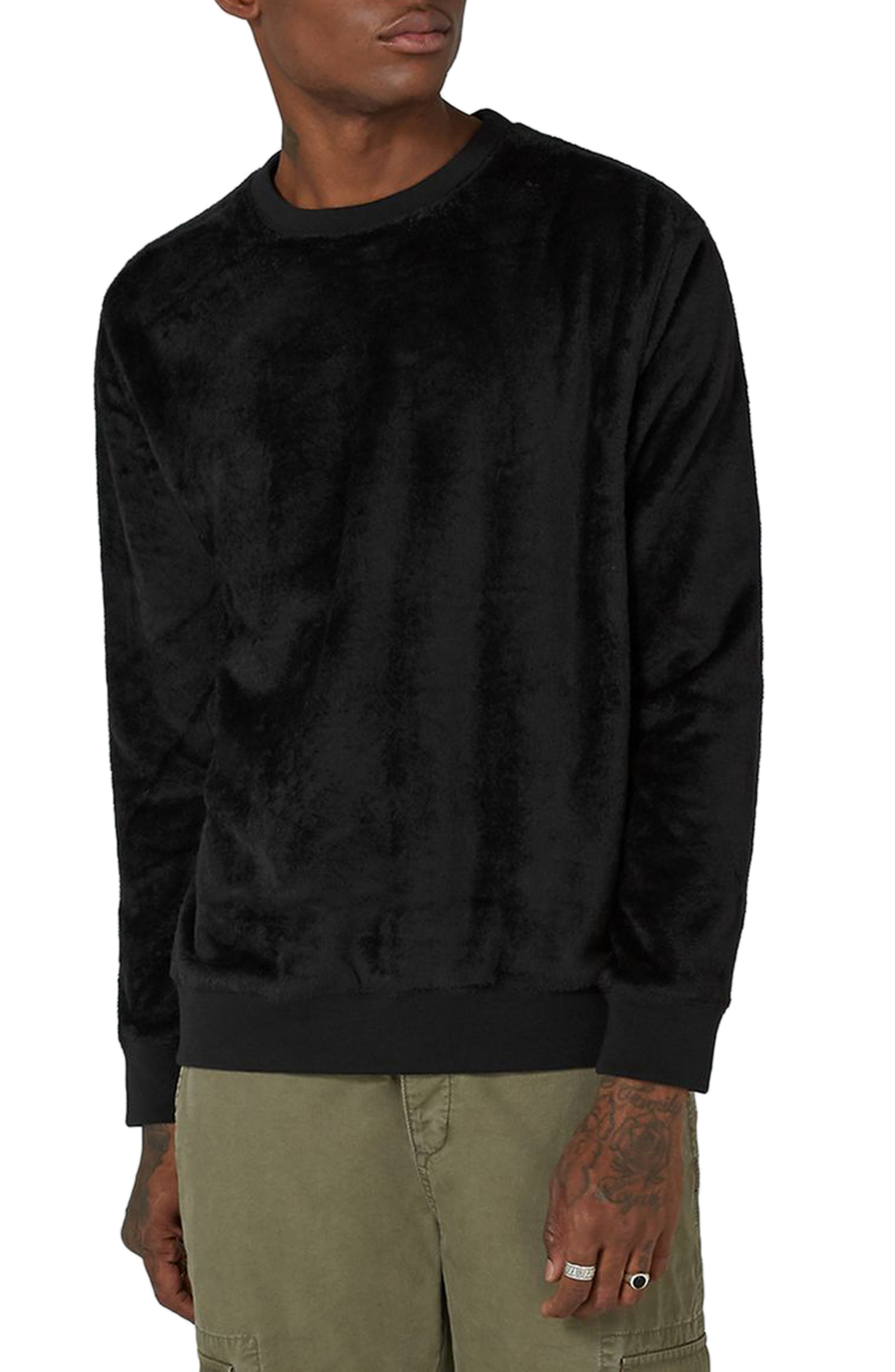 Topman Faux Fur Crewneck Sweatshirt