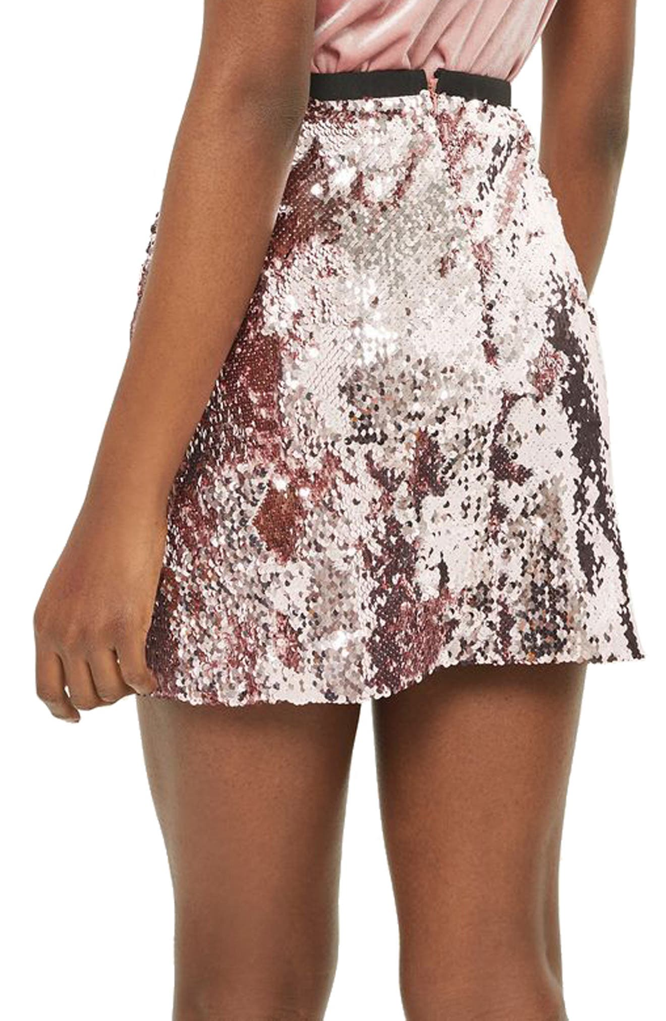 Sequin Miniskirt,                             Alternate thumbnail 3, color,                             Light Pink