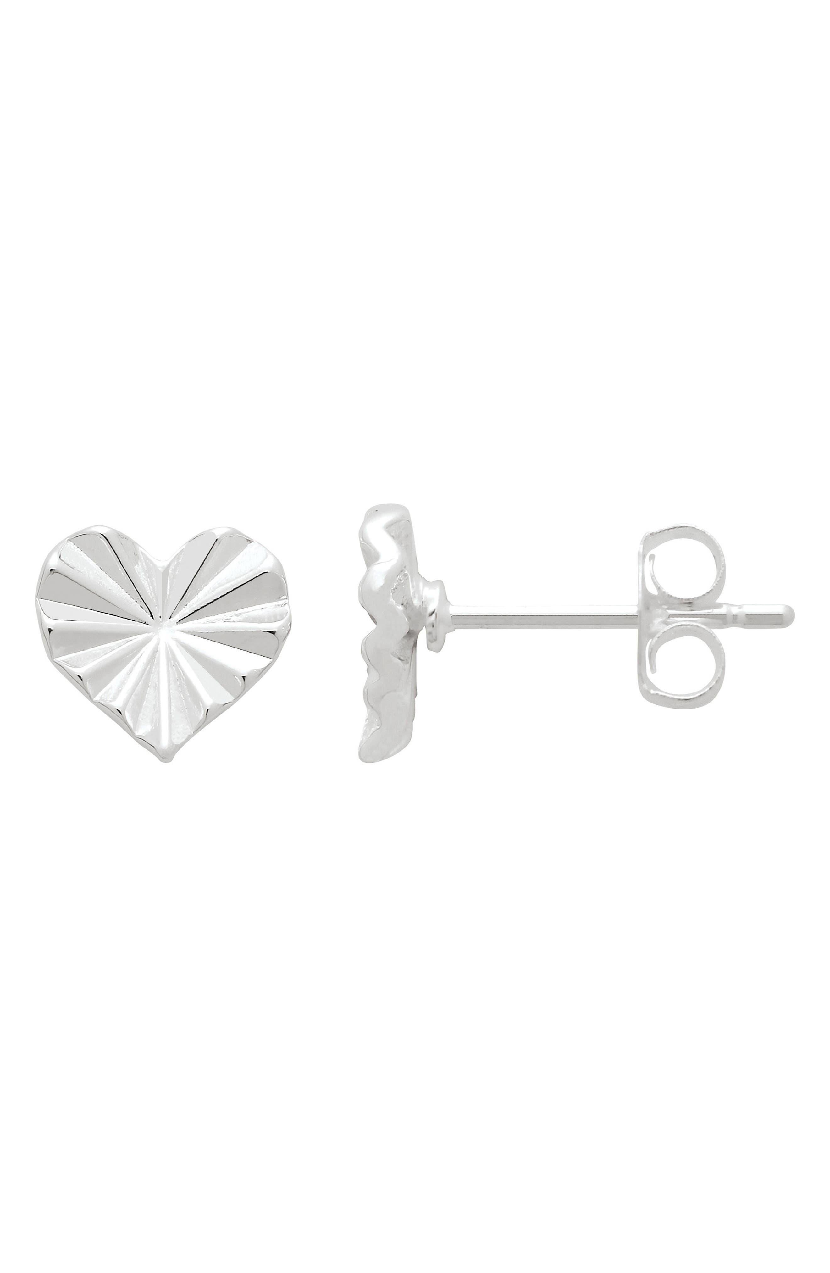 Folded Heart Stud Earrings,                         Main,                         color, Silver