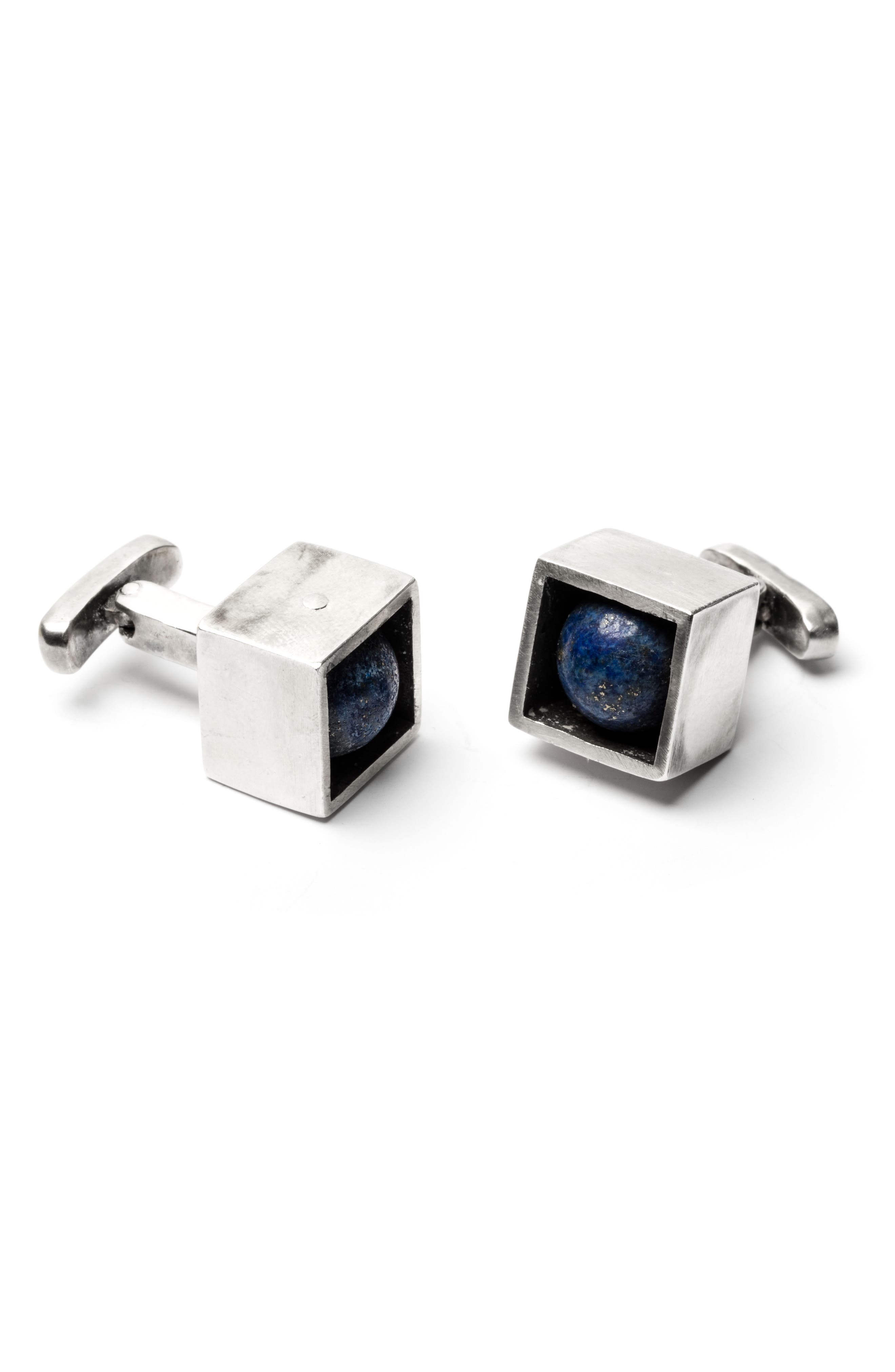 Stone in Cube Cuff Links,                         Main,                         color, Silver