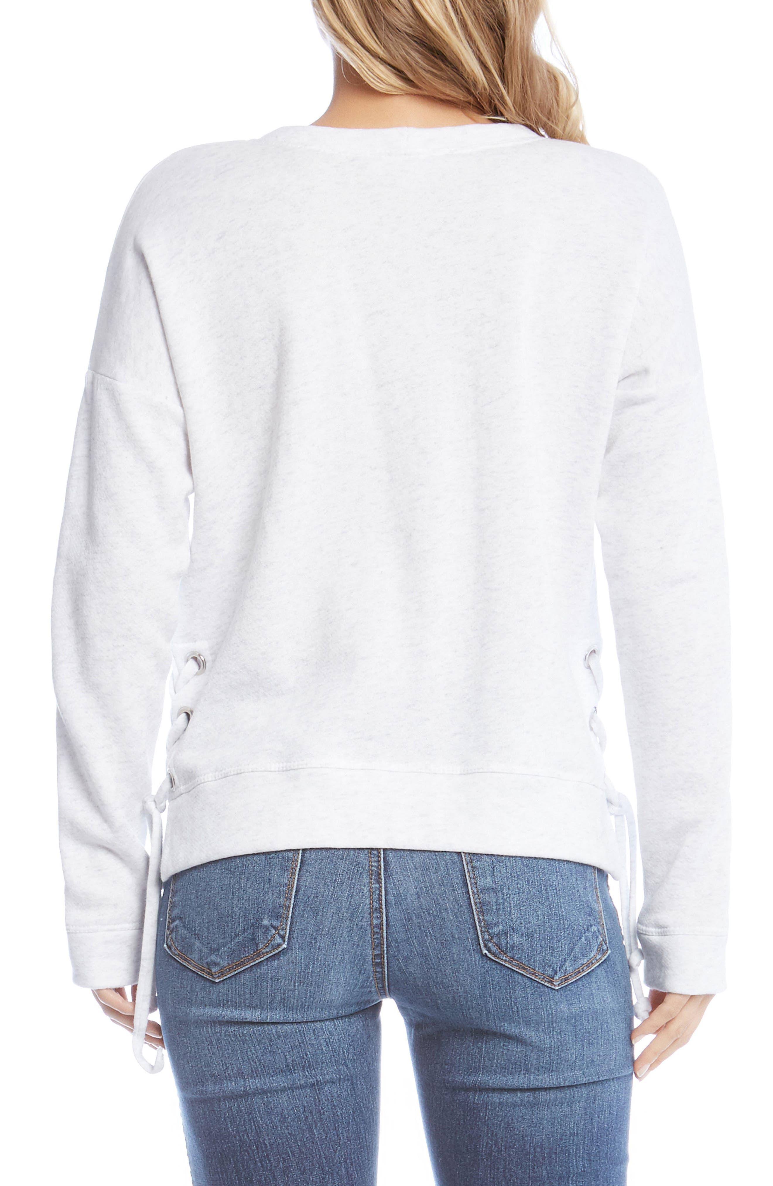 Side Lace-Up Sweatshirt,                             Alternate thumbnail 2, color,                             White With Grey