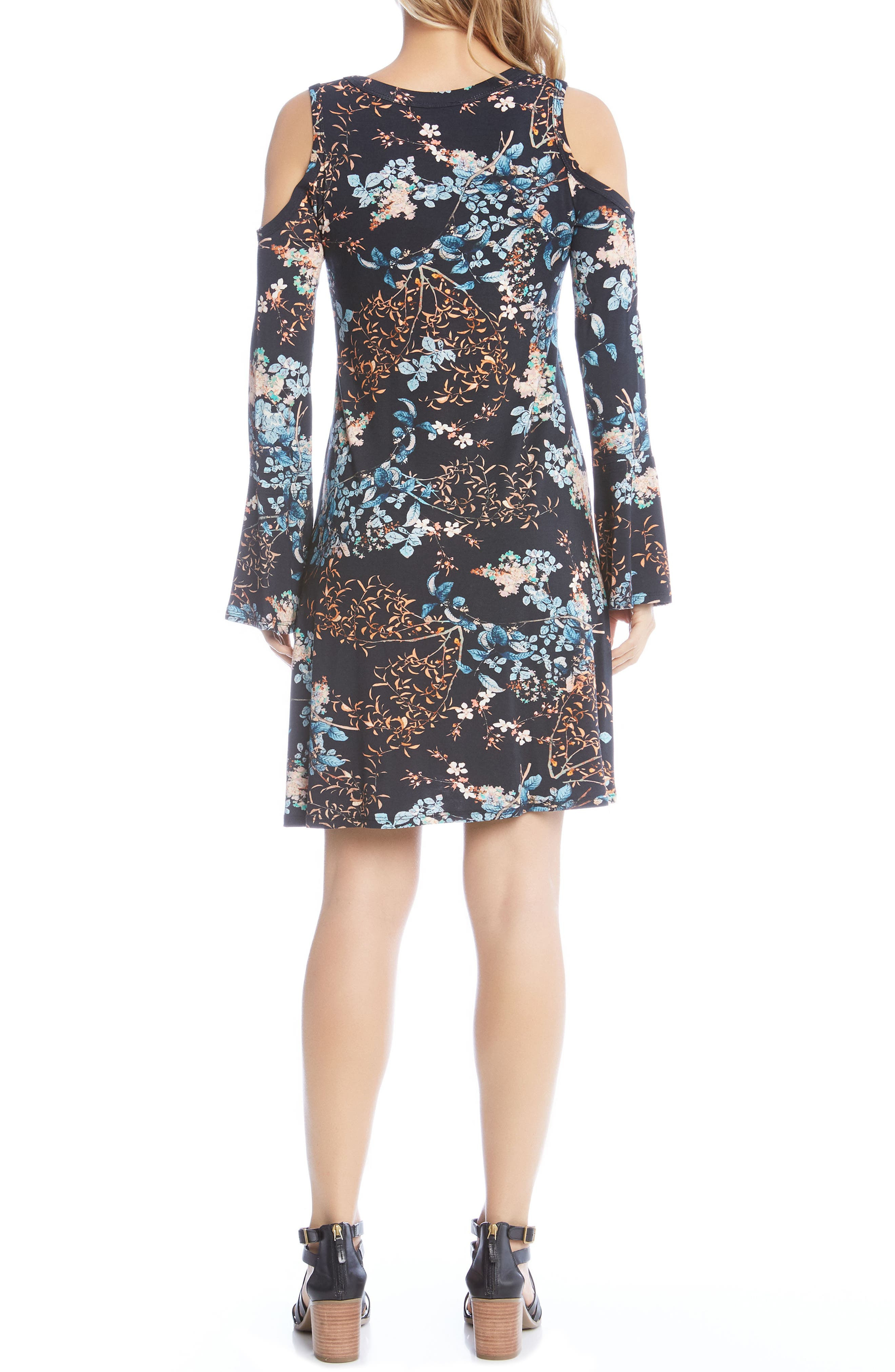 Cold Shoulder Floral A-Line Dress,                             Alternate thumbnail 3, color,                             Print