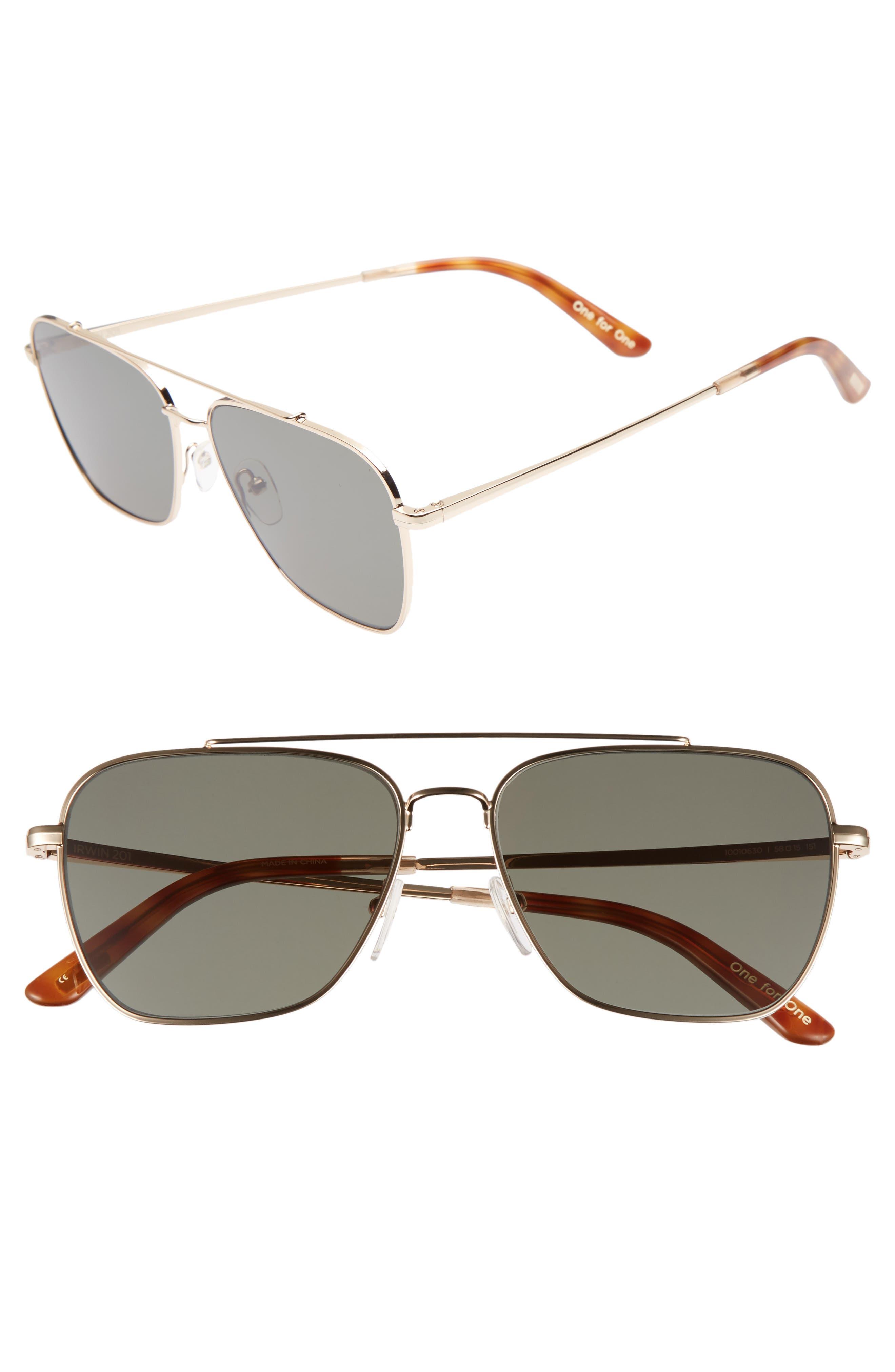 Irwin 58mm Sunglasses,                             Main thumbnail 1, color,                             Shiny Gold