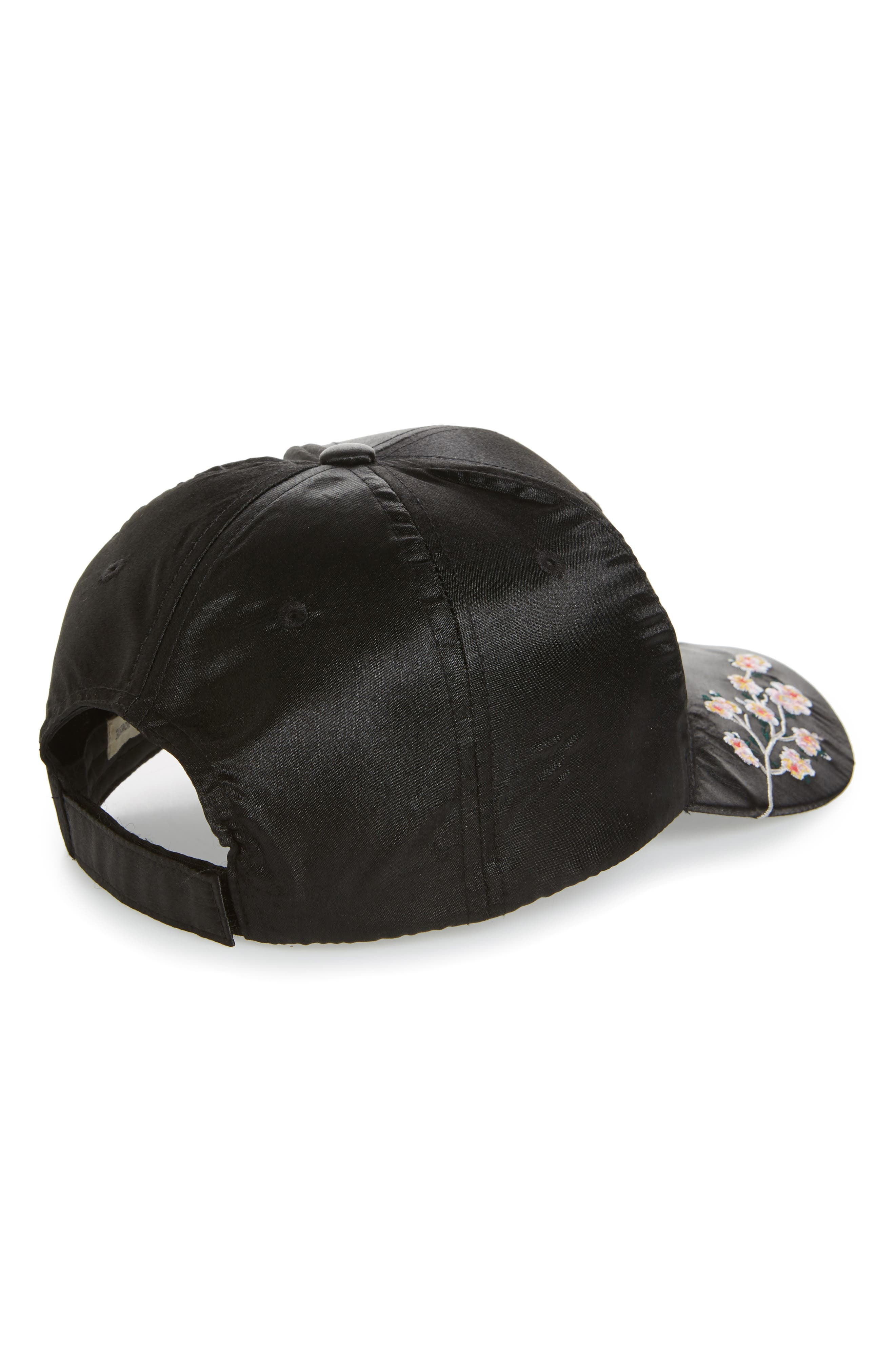 Embroidered Satin Adjustable Ball Cap,                             Alternate thumbnail 2, color,                             Black