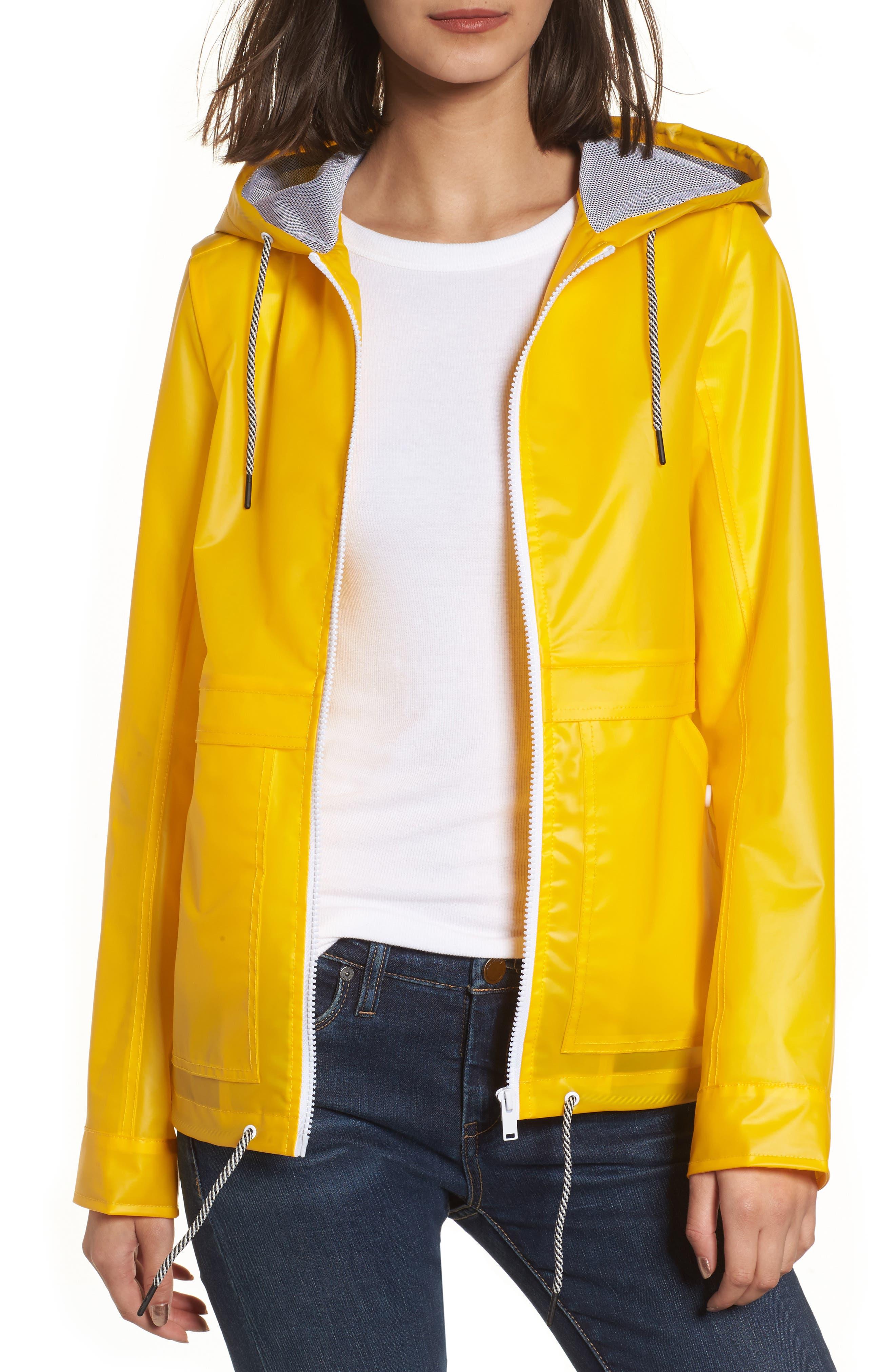 Water Resistant Raincoat,                         Main,                         color, Banana