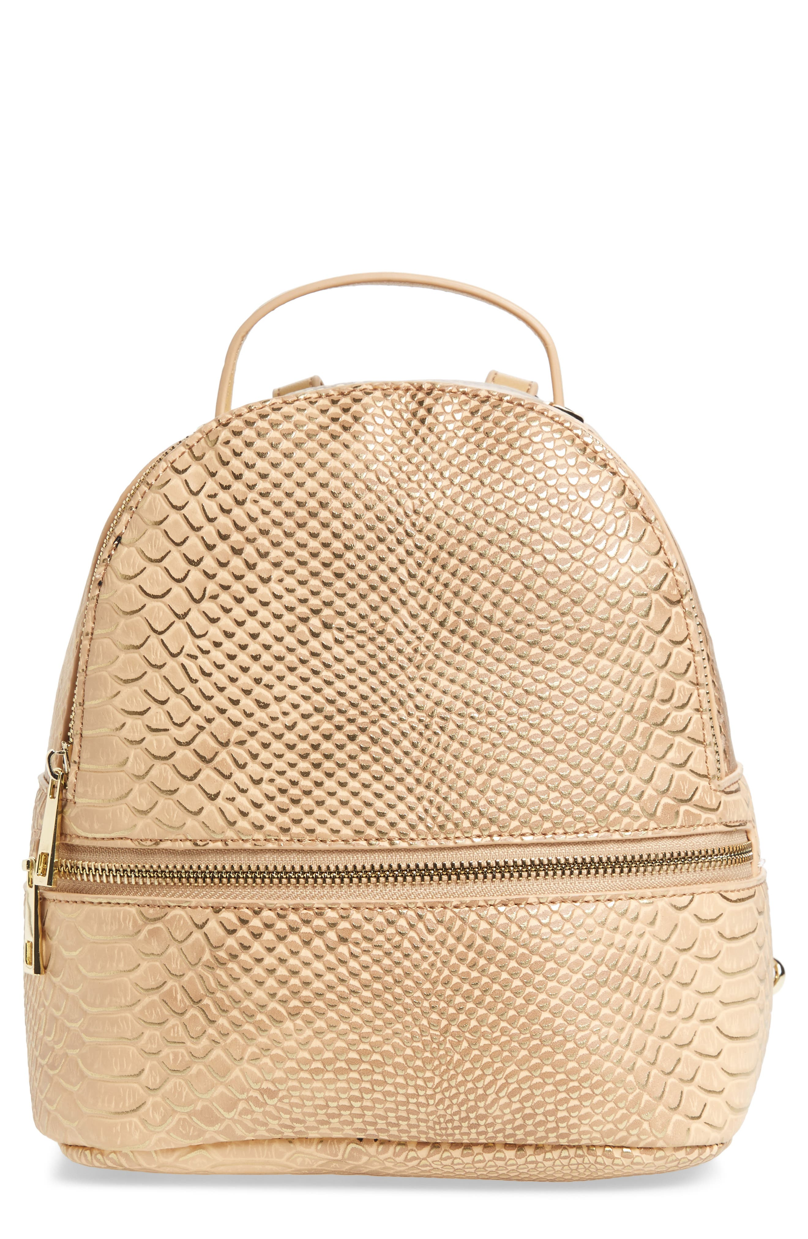 Colette Faux Leather Backpack,                             Main thumbnail 1, color,                             Nude Snake