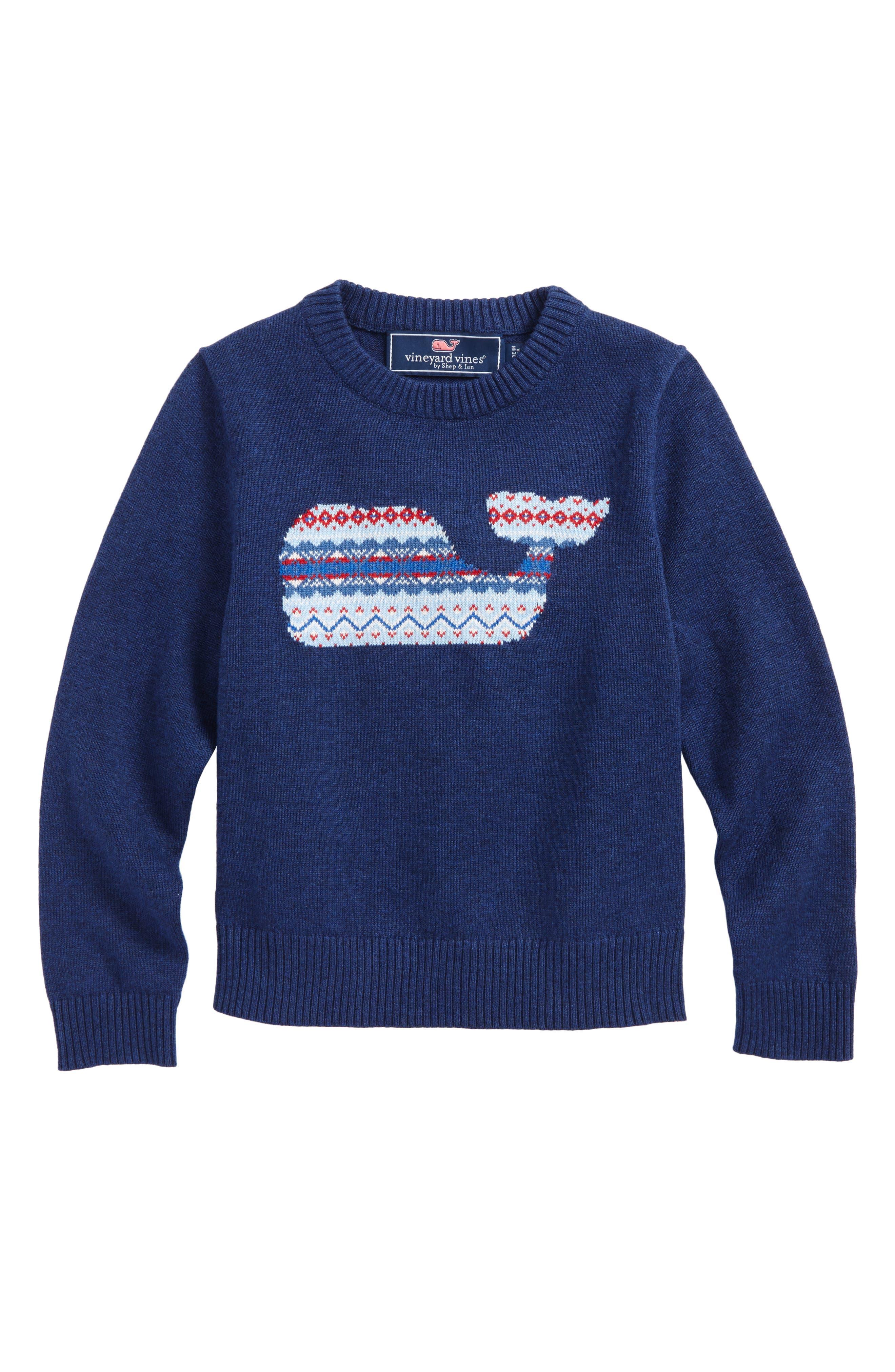 Whale Isle Intarsia Sweater,                         Main,                         color, Deep Bay