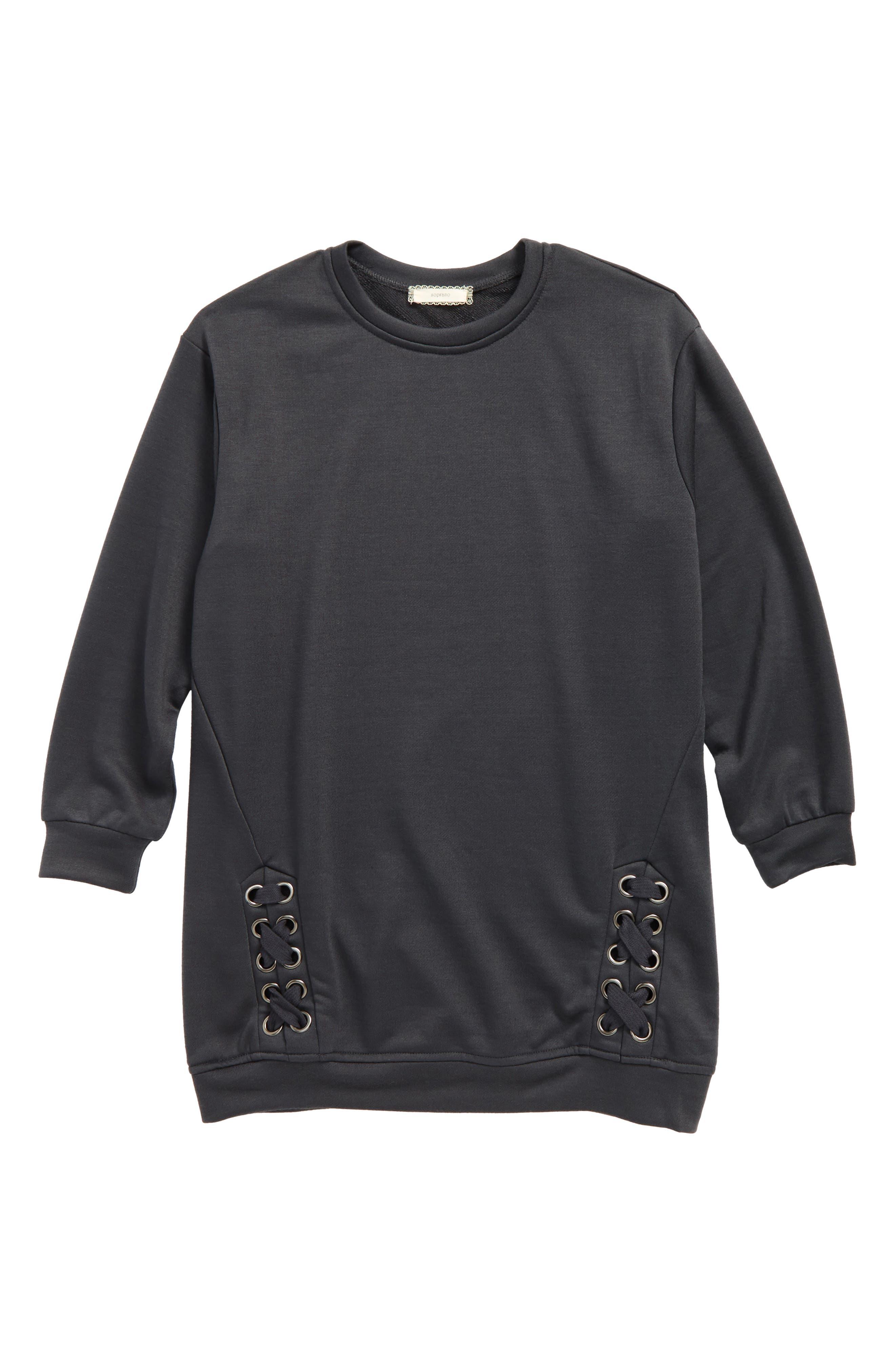 Alternate Image 1 Selected - Soprano Side Lace Sweatshirt (Big Girls)