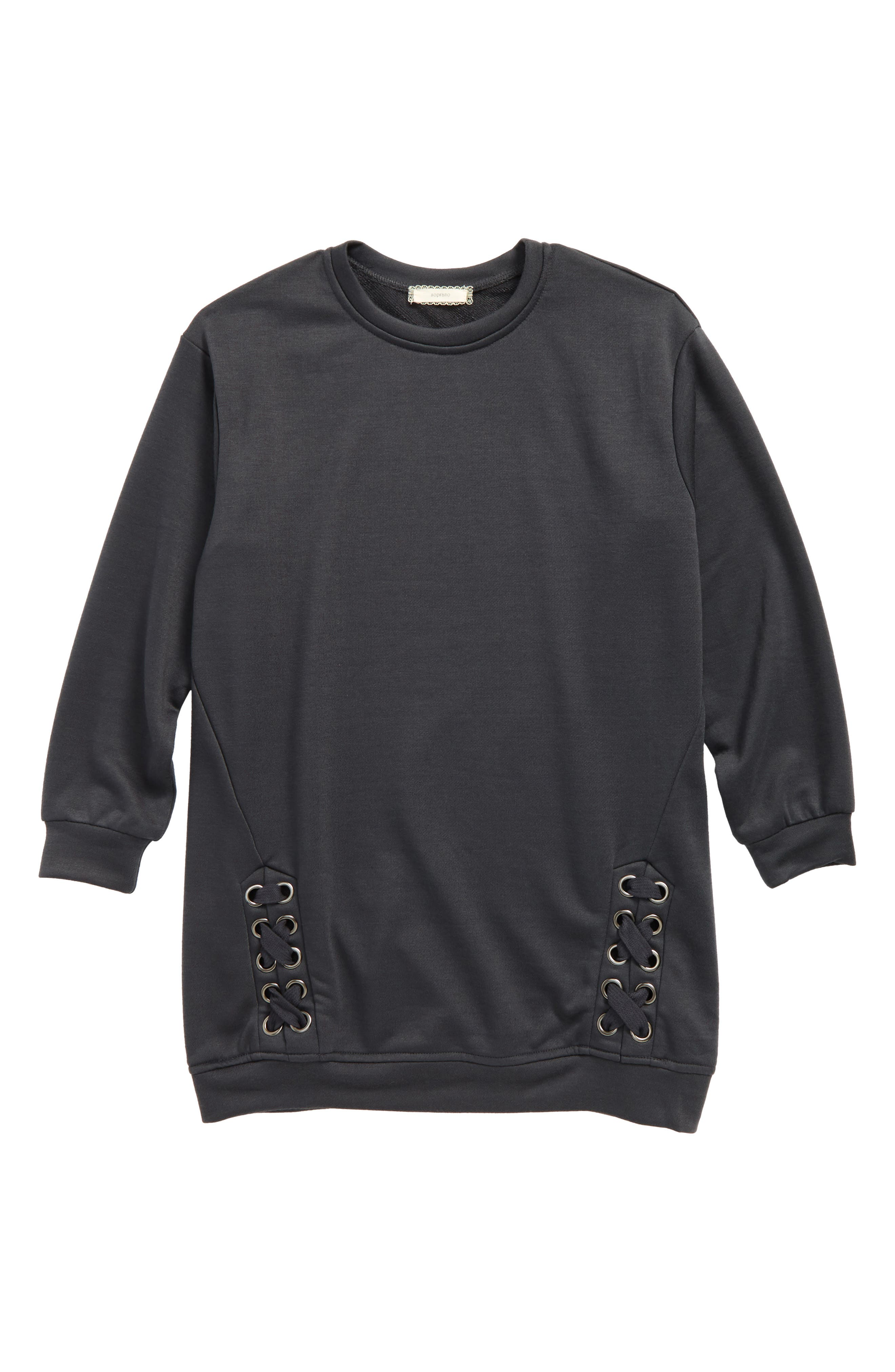 Side Lace Sweatshirt,                         Main,                         color, Charcoal