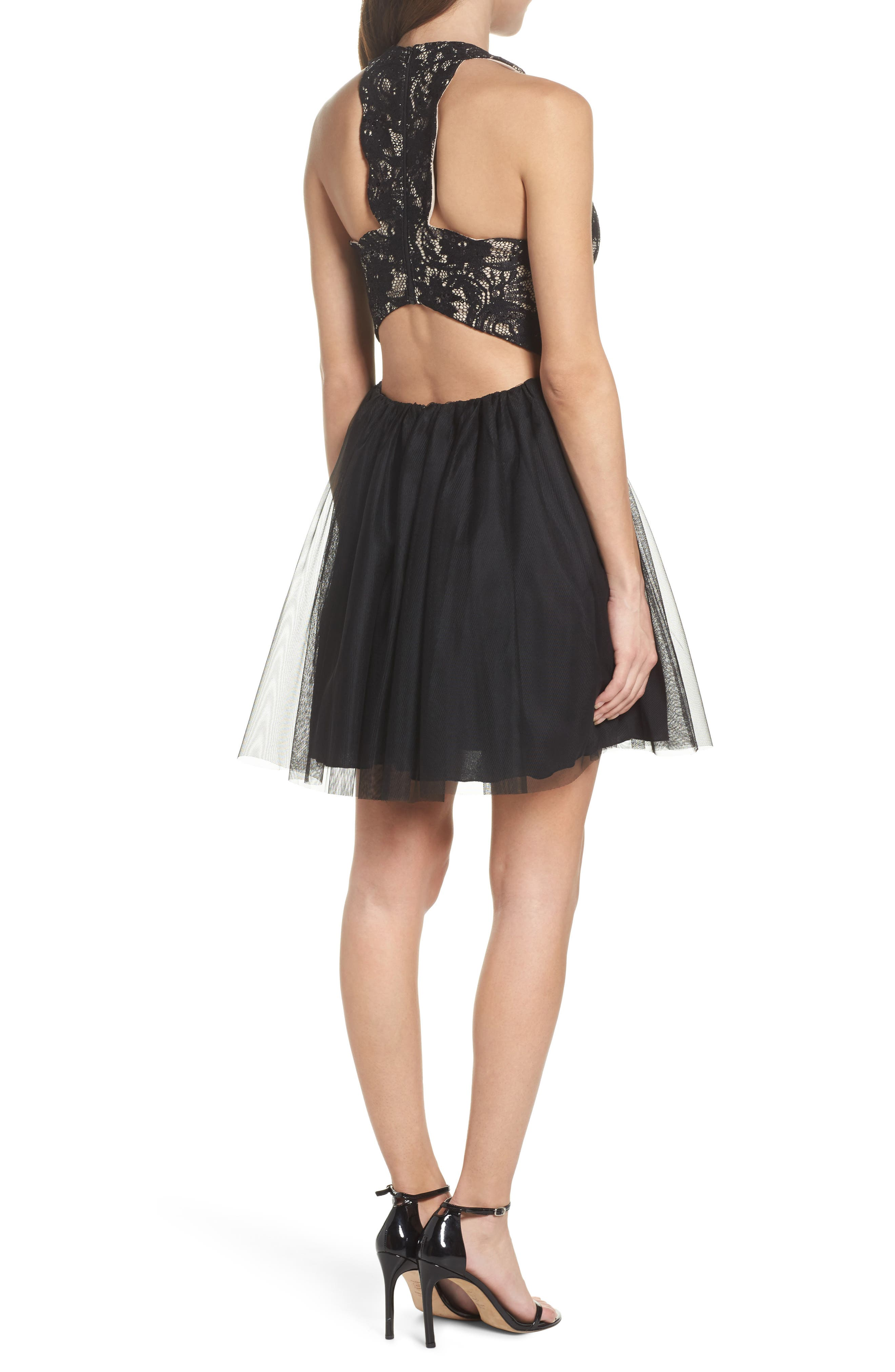 Alternate Image 2  - Sequin Hearts Lace Halter Neck Dress