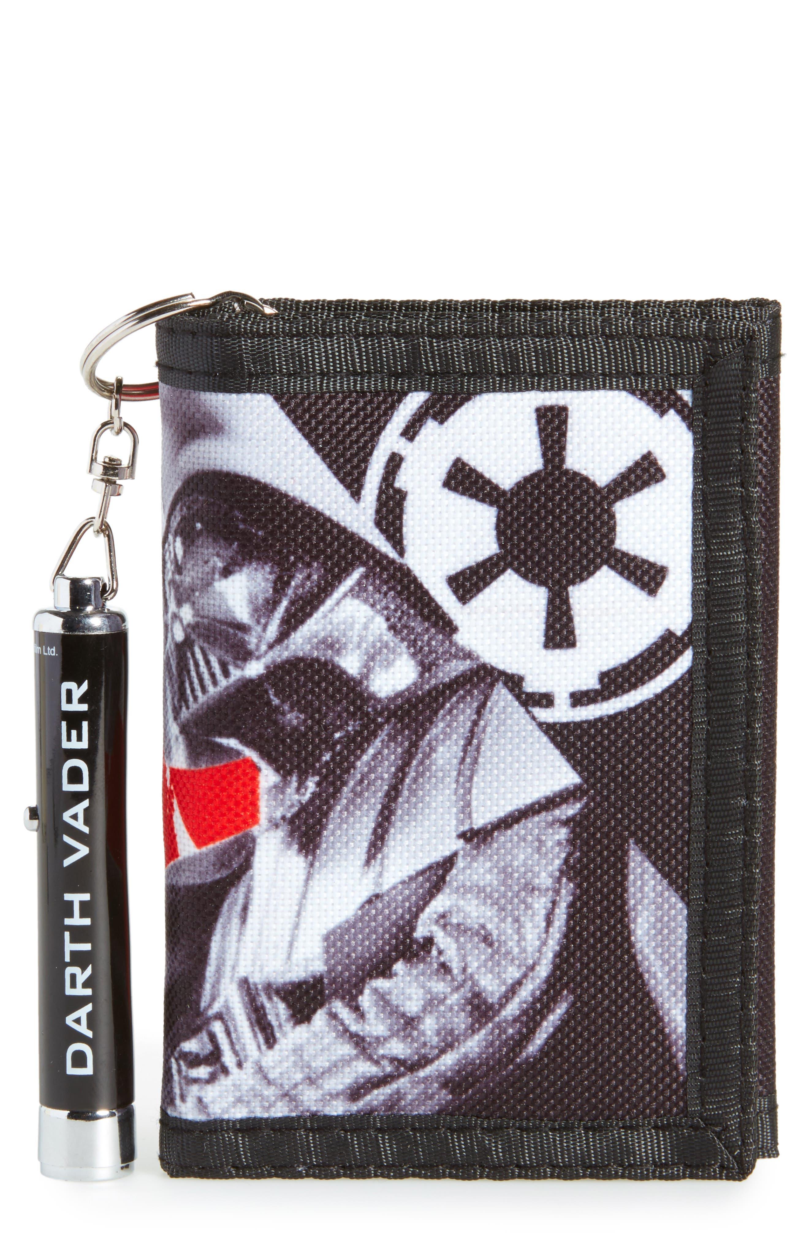 Darth Vader Wallet & Logo Light Key Chain,                             Main thumbnail 1, color,                             Black
