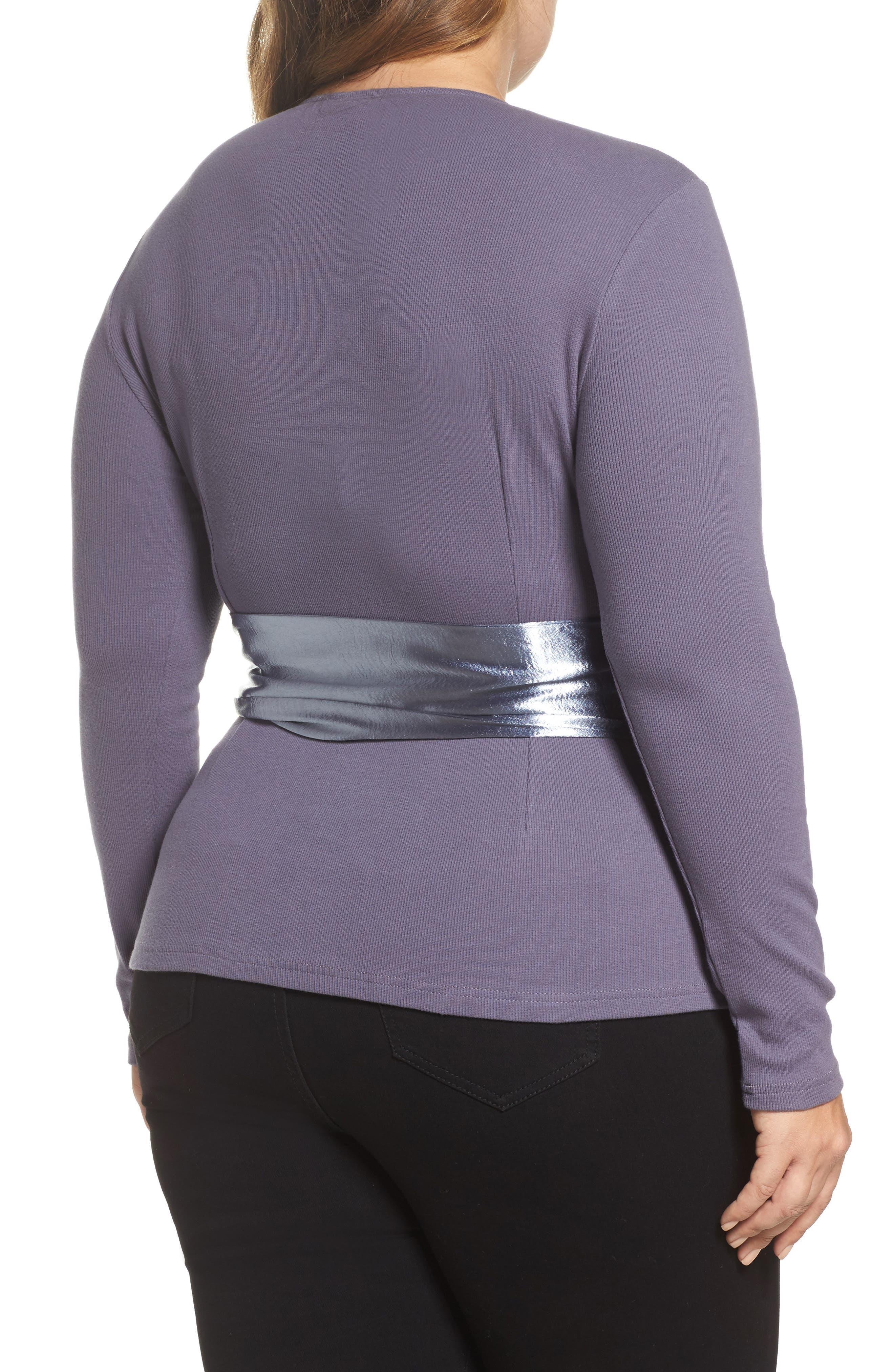 Alternate Image 2  - LOST INK Satin Sash Knit Top (Plus Size)