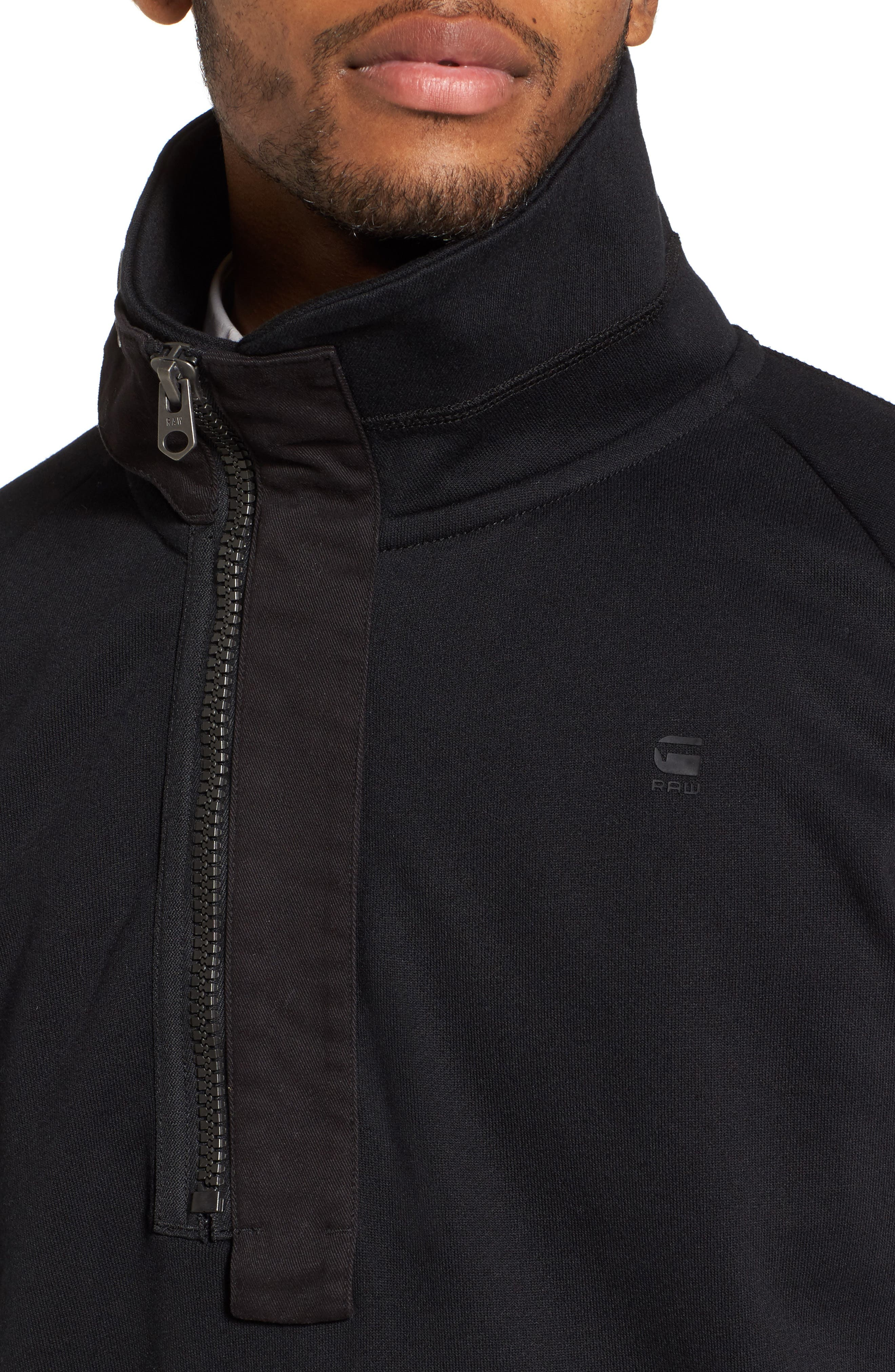 Empral Quarter Zip Pullover,                             Alternate thumbnail 4, color,                             Dark Black