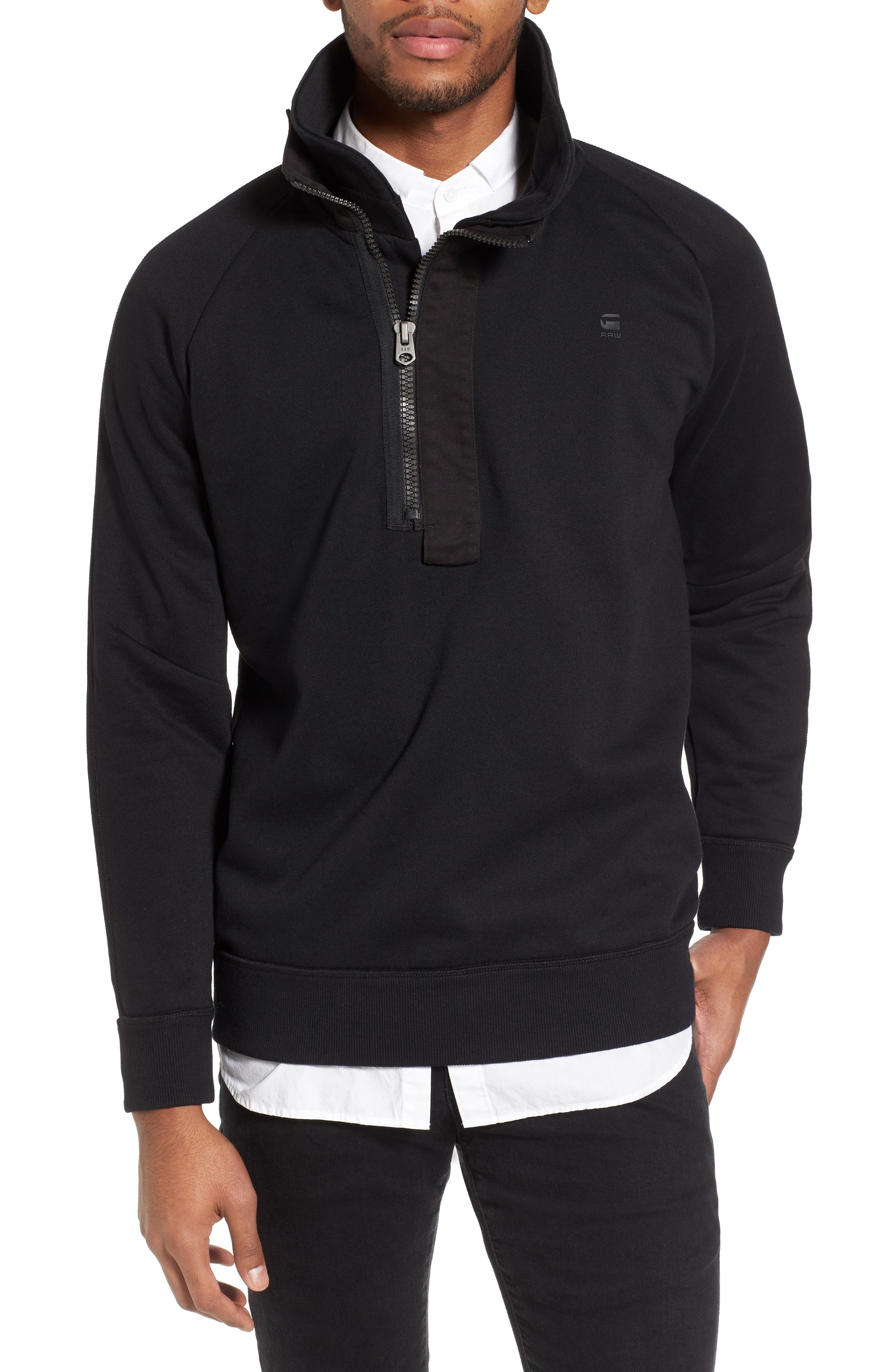 Empral Quarter Zip Pullover,                         Main,                         color, Dark Black