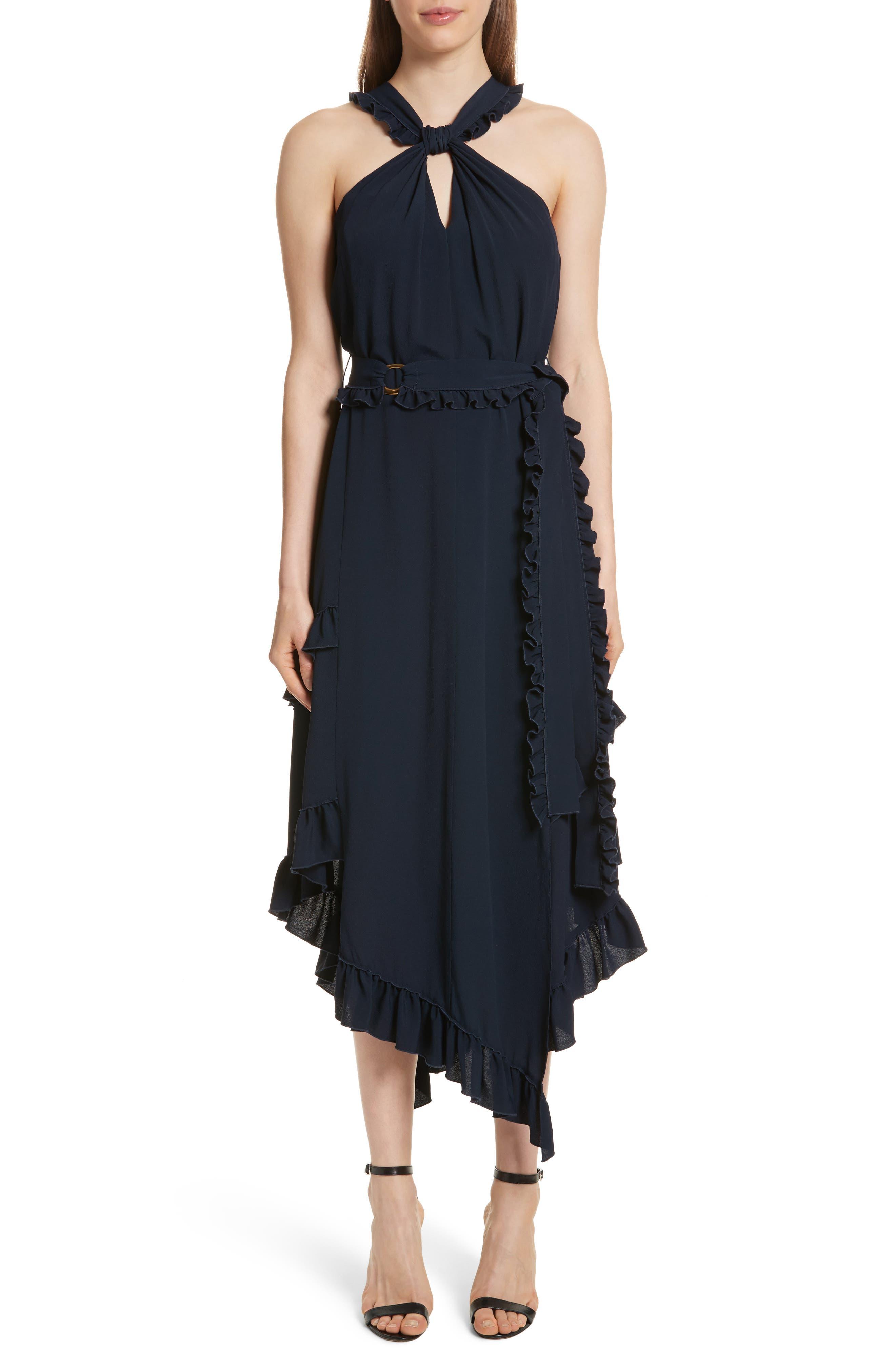 Ruffled Asymmetrical Dress,                             Main thumbnail 1, color,                             Midnight