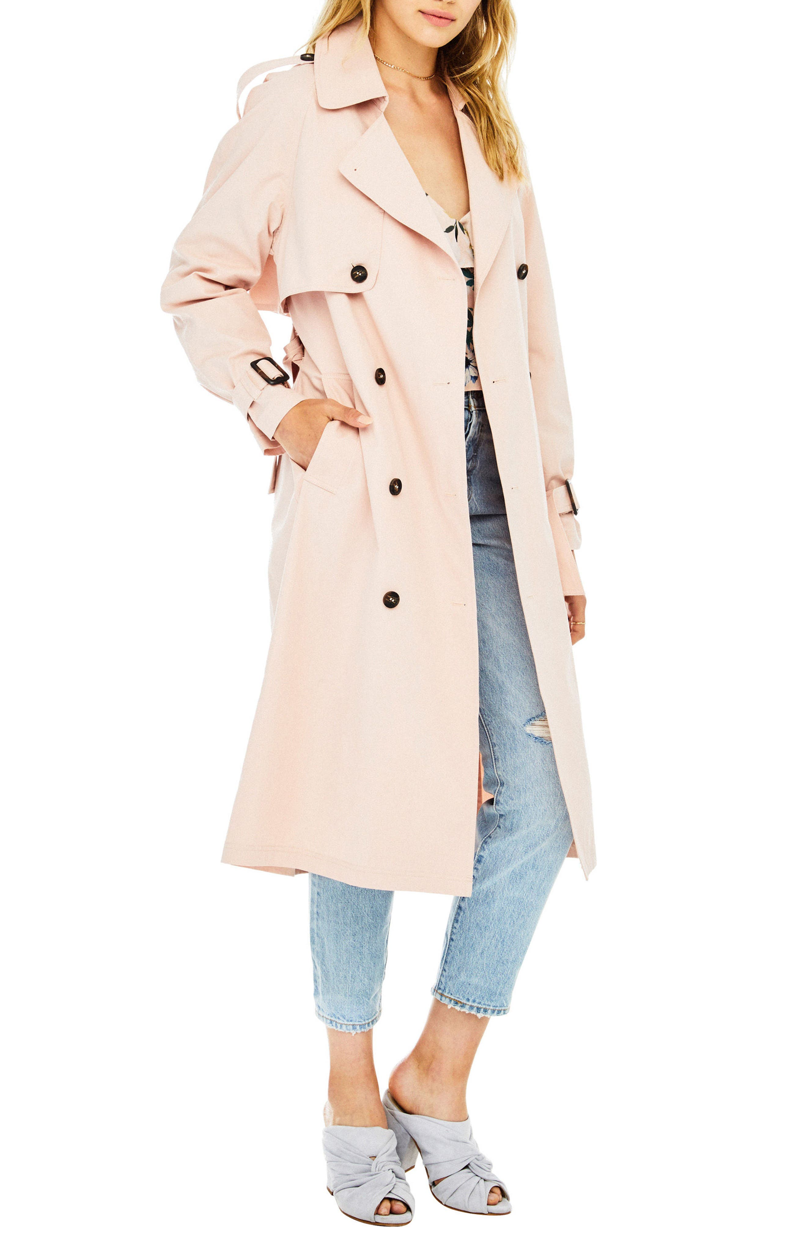 Wesley Trench Coat,                             Alternate thumbnail 3, color,                             Blush
