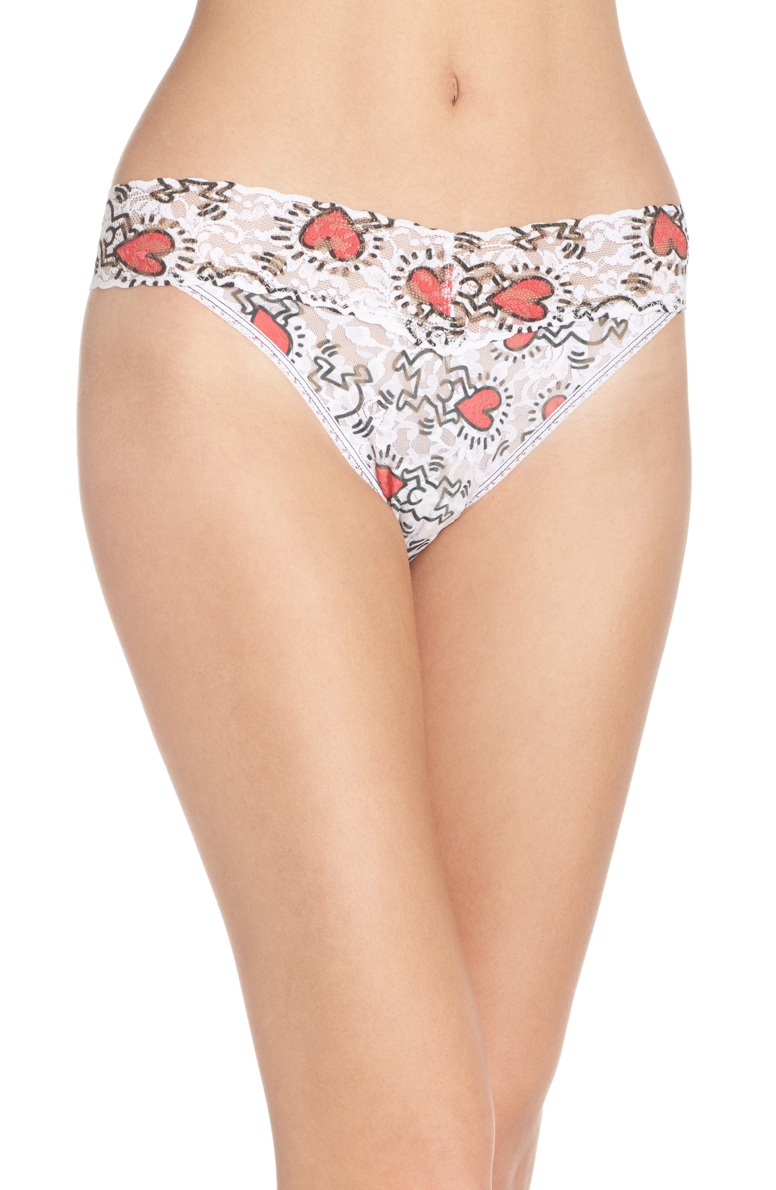 Keith Haring Hearts Original Rise Thong,                             Main thumbnail 1, color,                             Multi