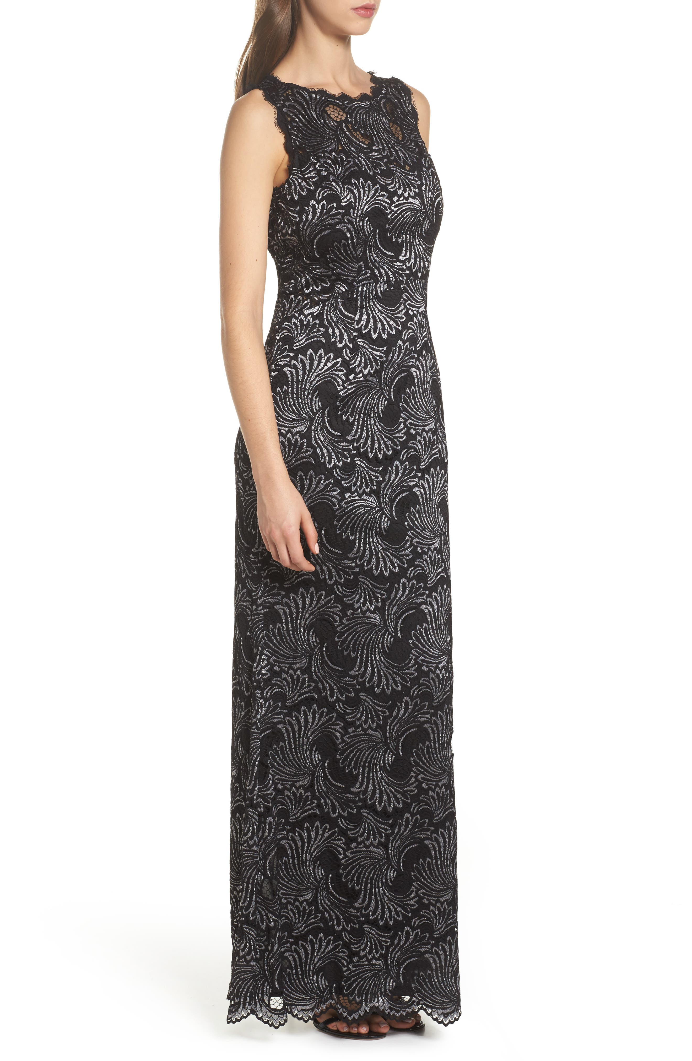 Two-Tone Lace Gown,                             Alternate thumbnail 3, color,                             Black/ Silver