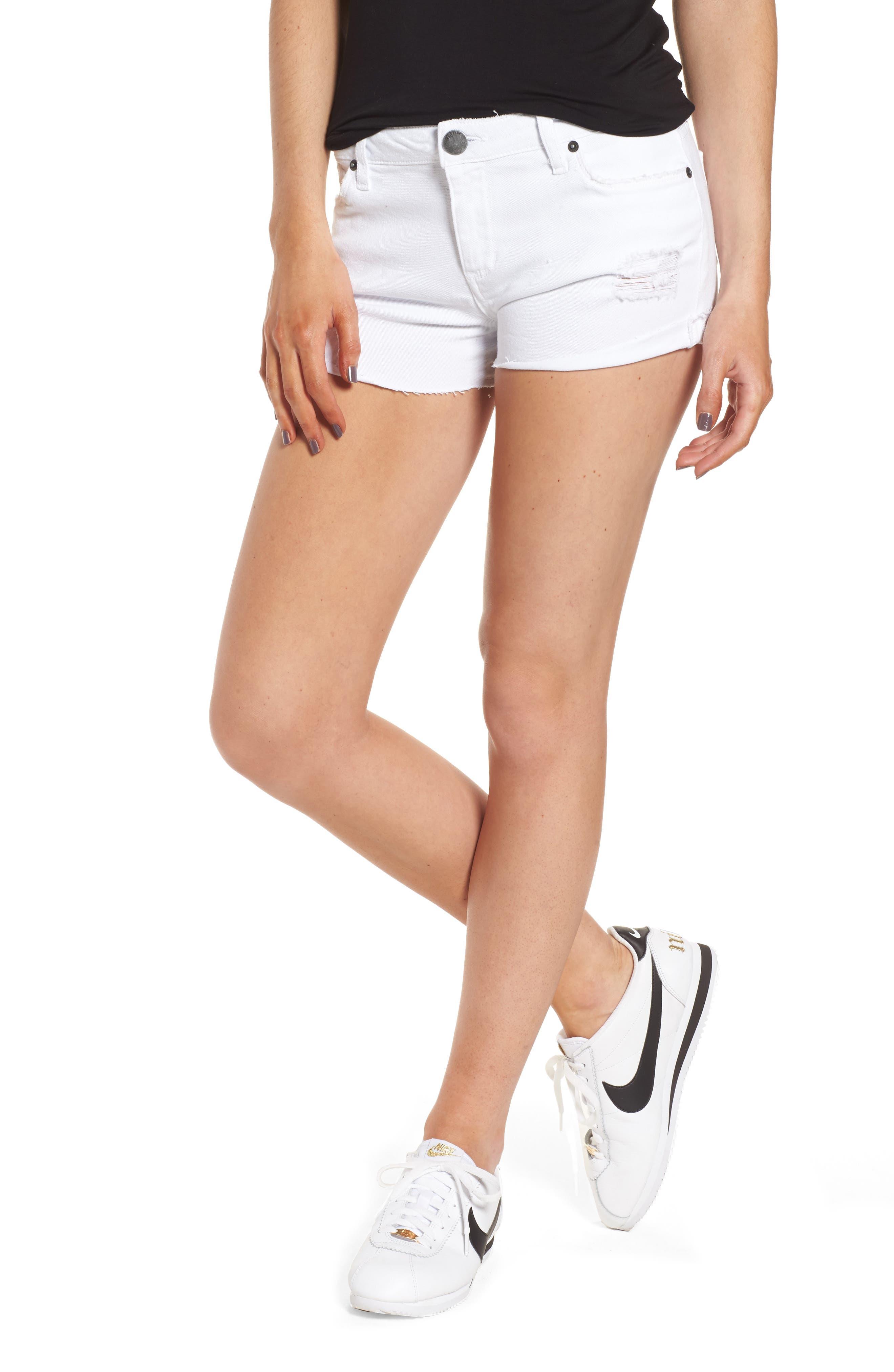 Distressed Boyfriend Denim Shorts,                             Main thumbnail 1, color,                             Optic White