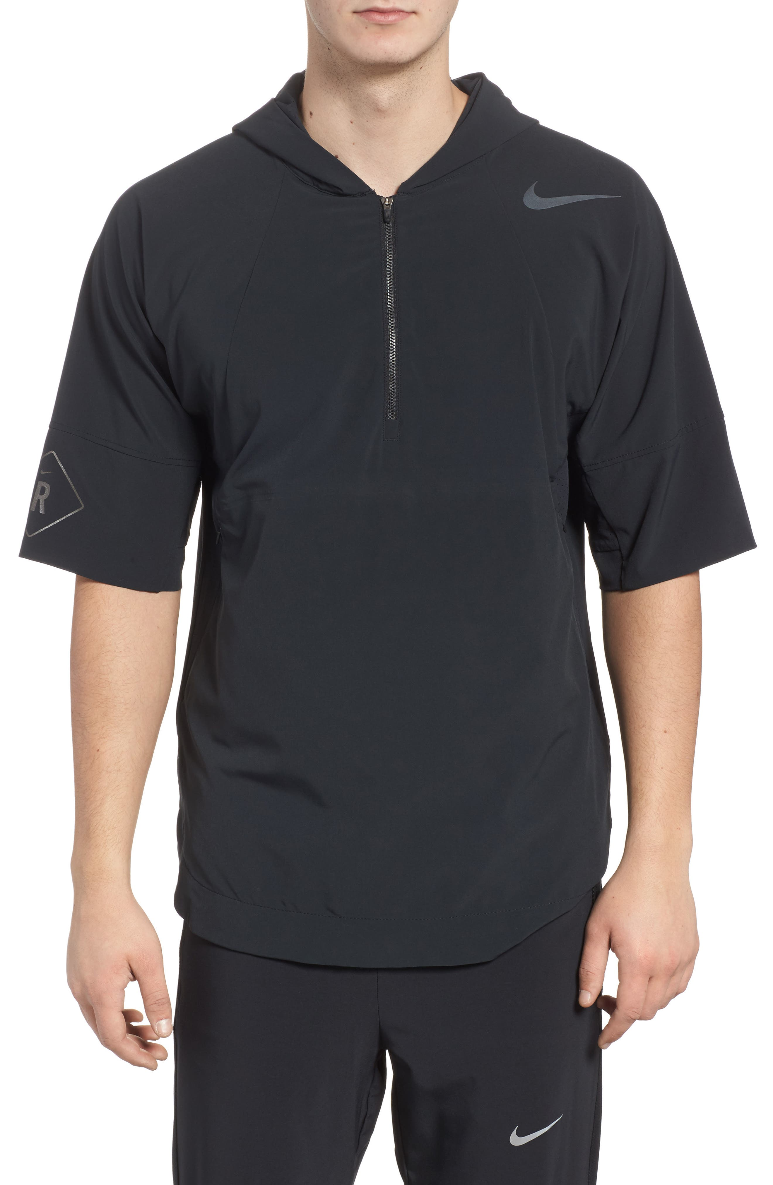 Running Division Short Sleeve DWR Running Hoodie,                         Main,                         color, Black