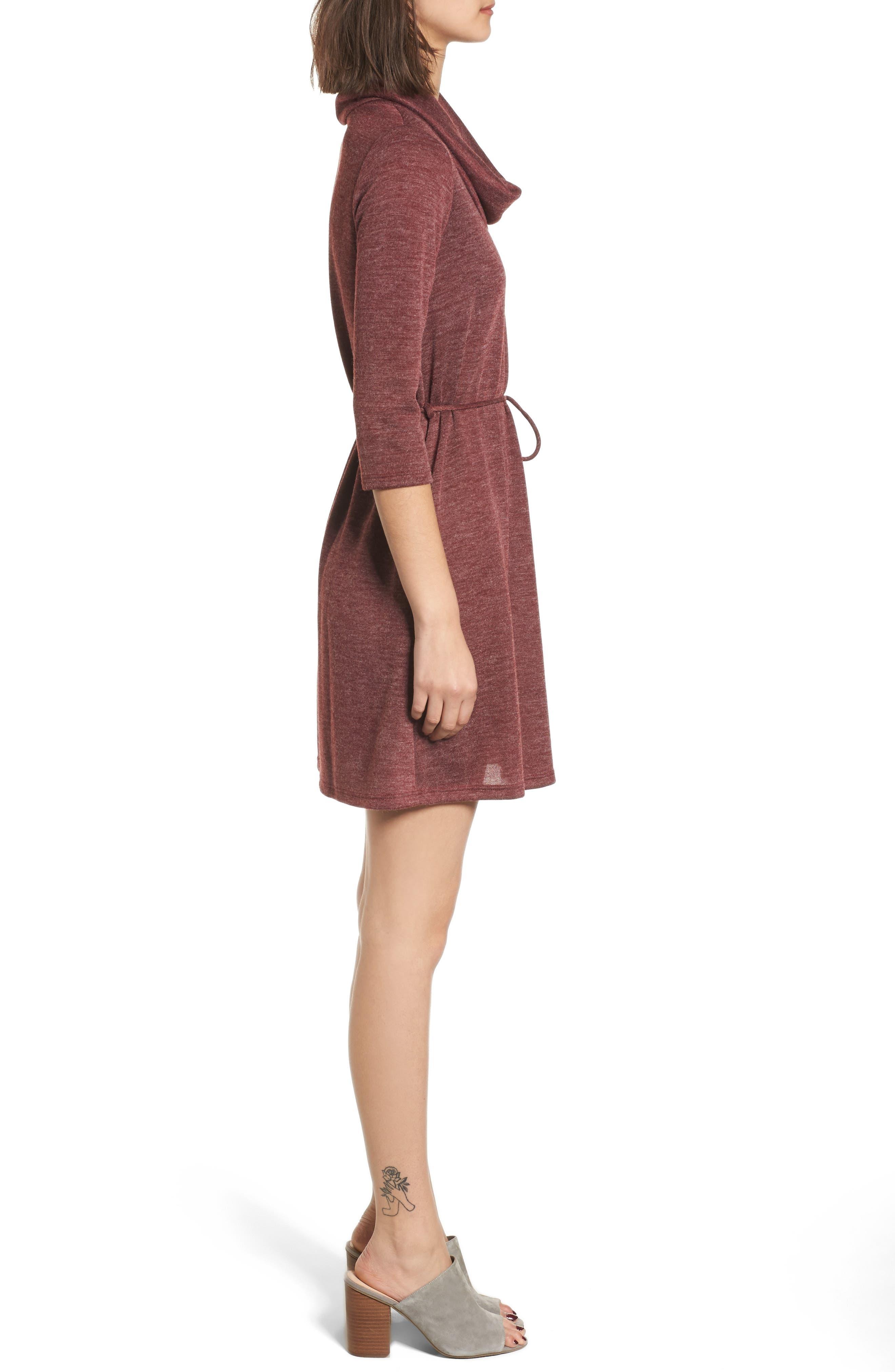 Cowl Neck Dress,                             Alternate thumbnail 3, color,                             Wine