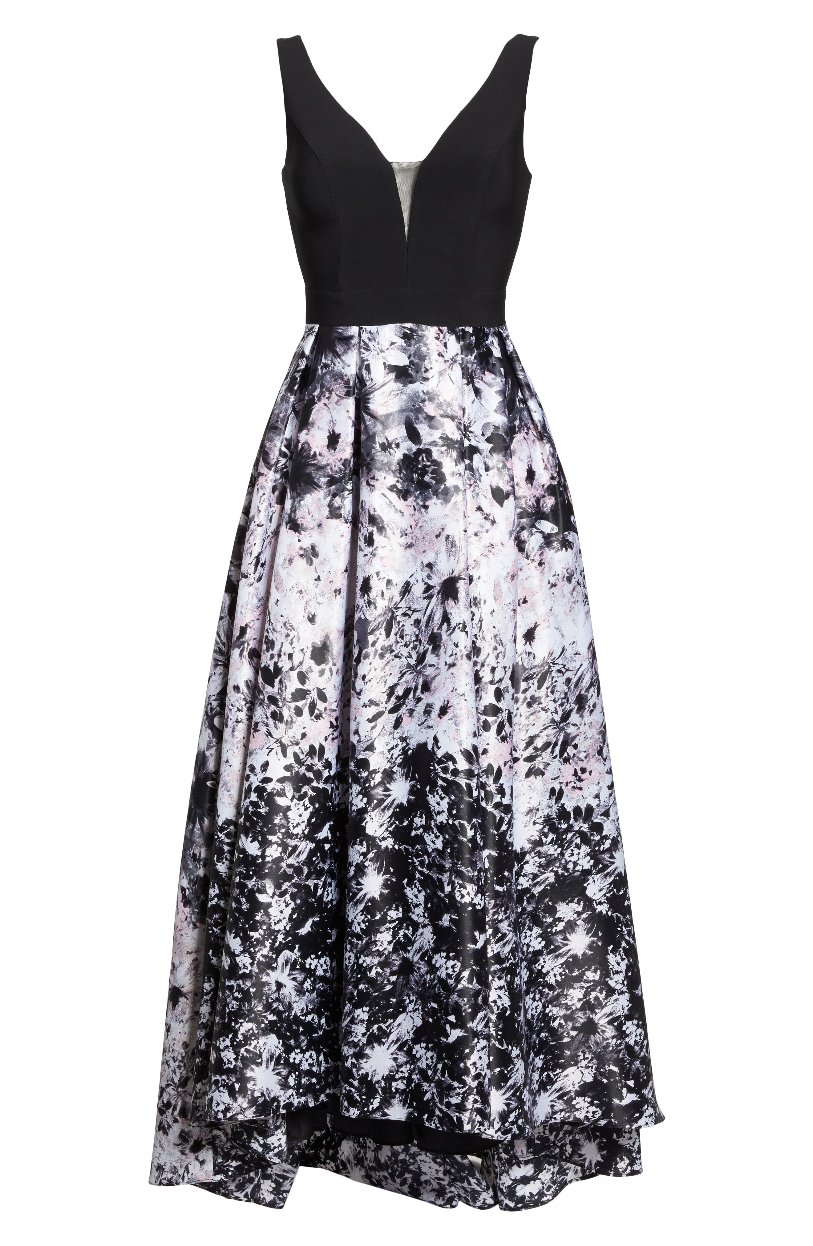 Print Skirt High/Low Gown,                             Alternate thumbnail 6, color,                             Black/ Pink