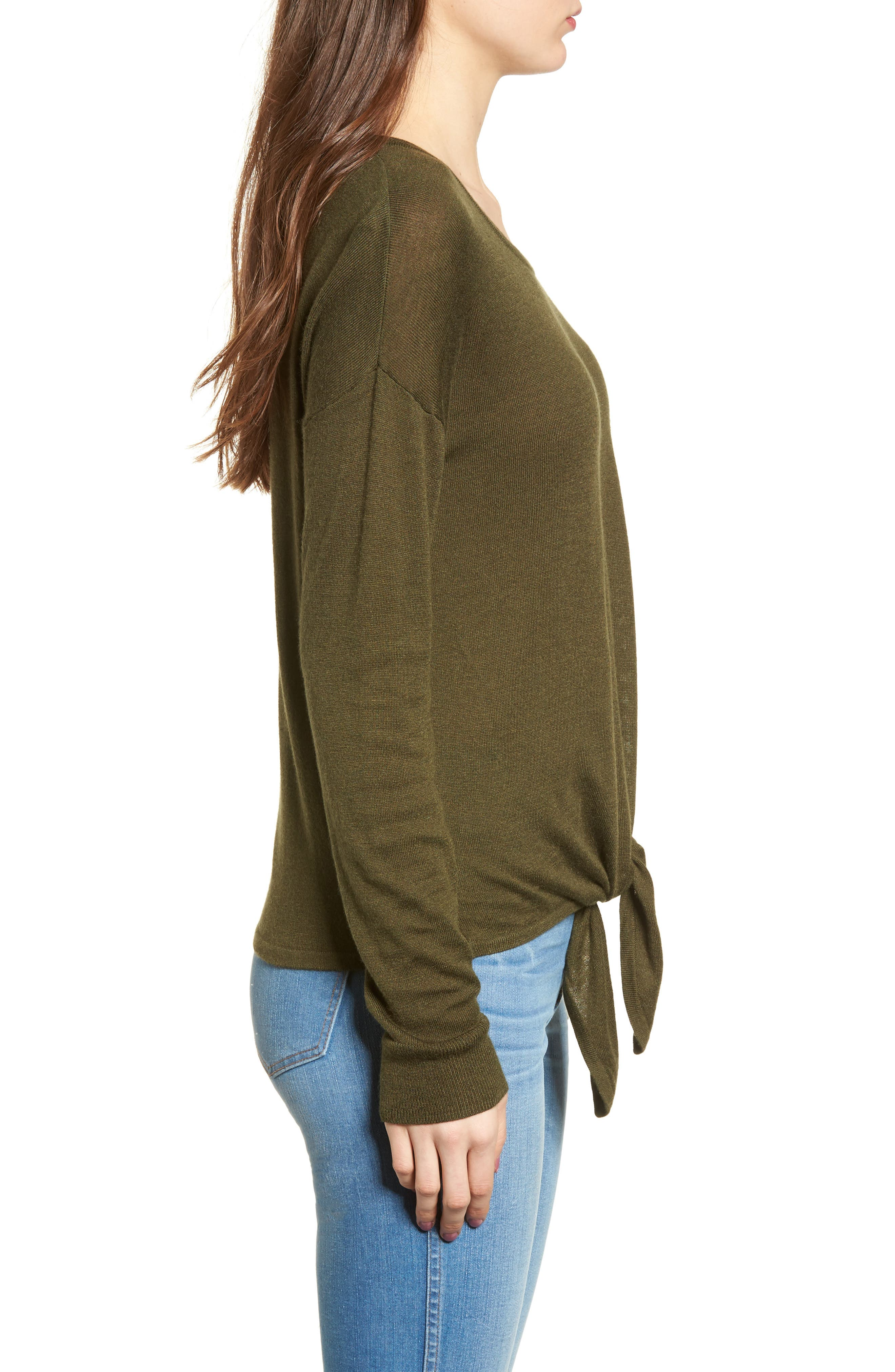 Modern Tie Front Sweater,                             Alternate thumbnail 3, color,                             Foliage Green