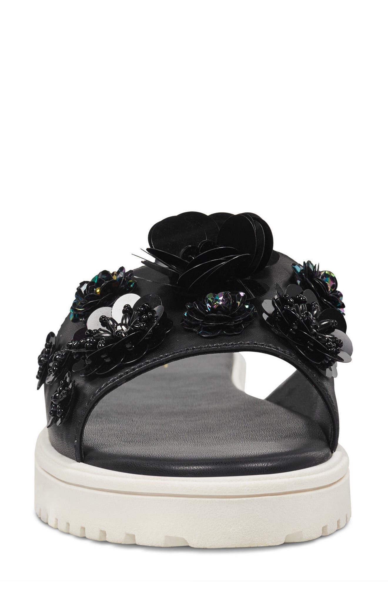 Rainen Flower Embellished Slide Sandal,                             Alternate thumbnail 4, color,                             Black Fabric