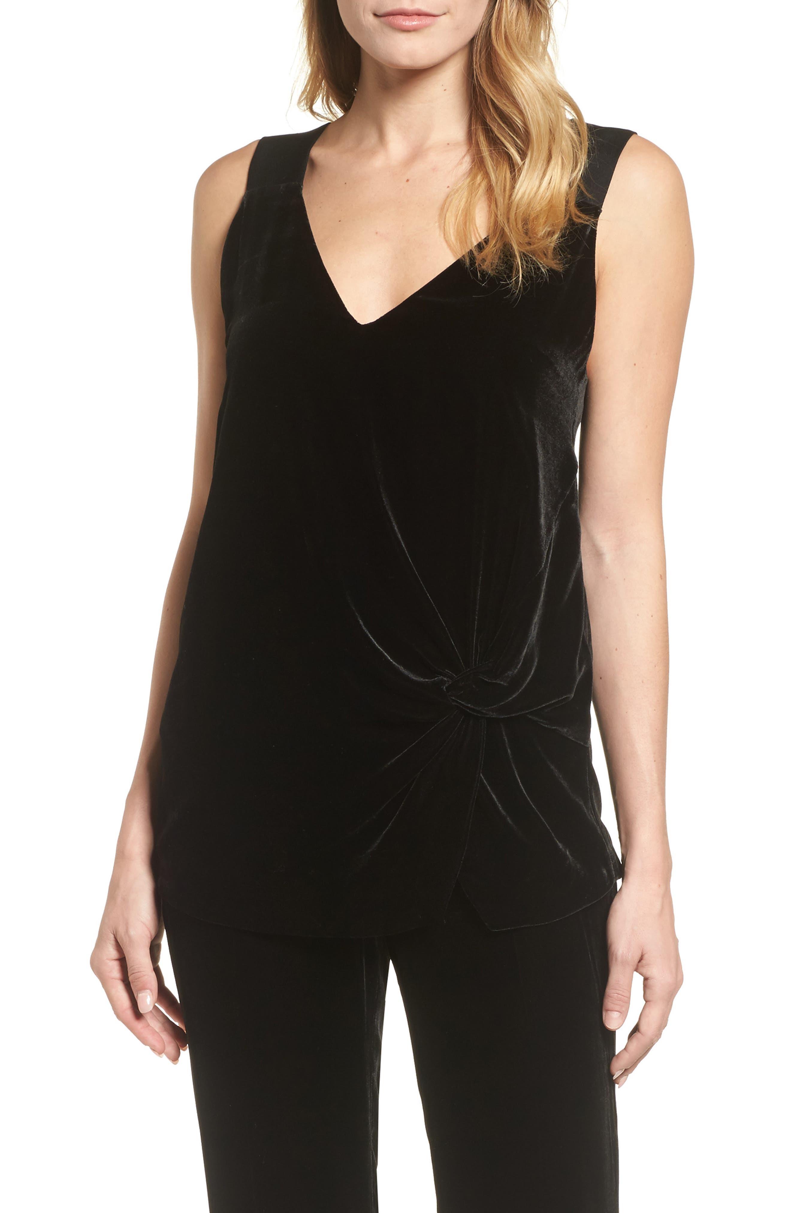 Ikaria Velvet Top,                         Main,                         color, Black