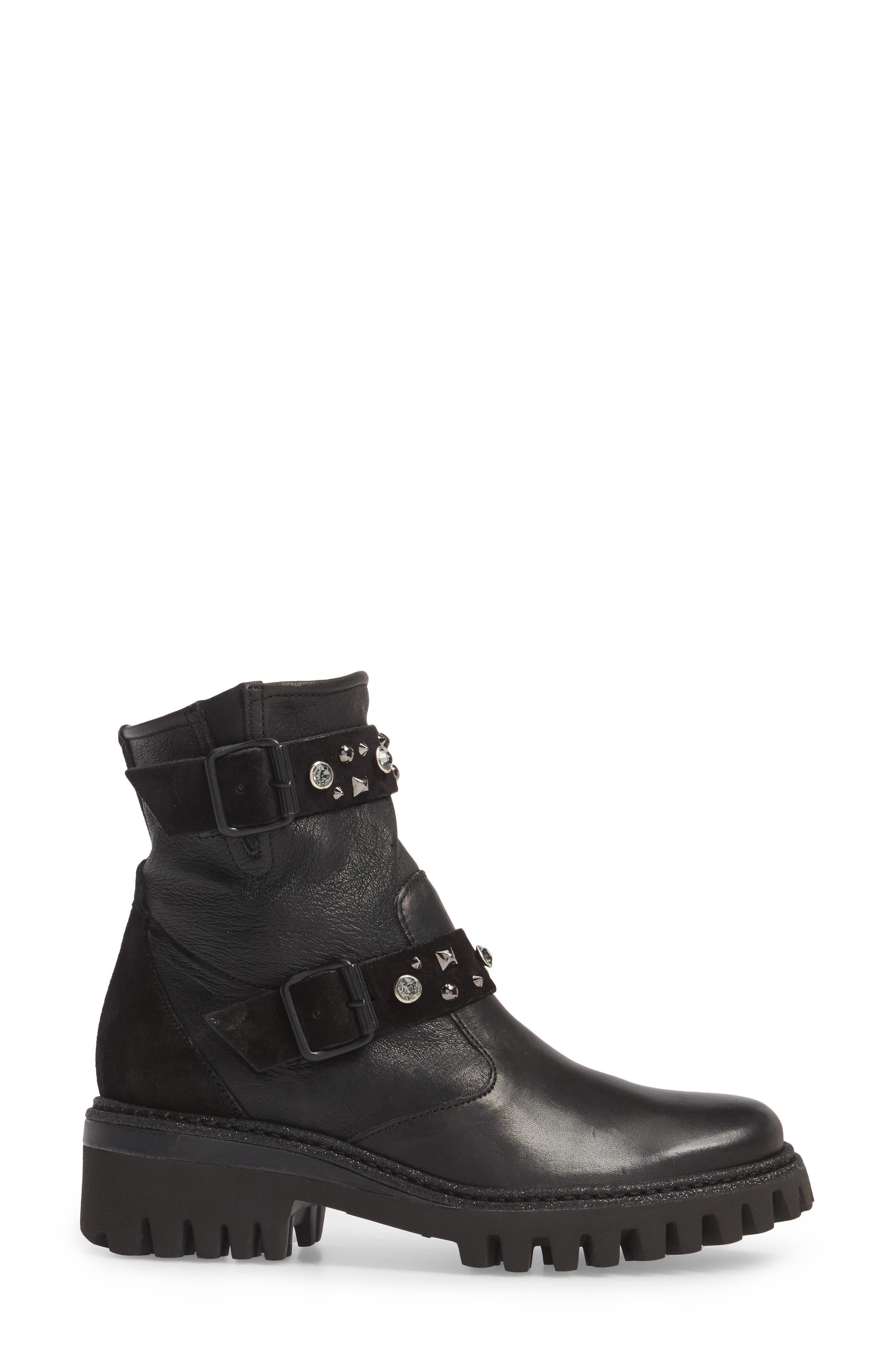 Rivet Moto Boot,                             Alternate thumbnail 3, color,                             Black Leather