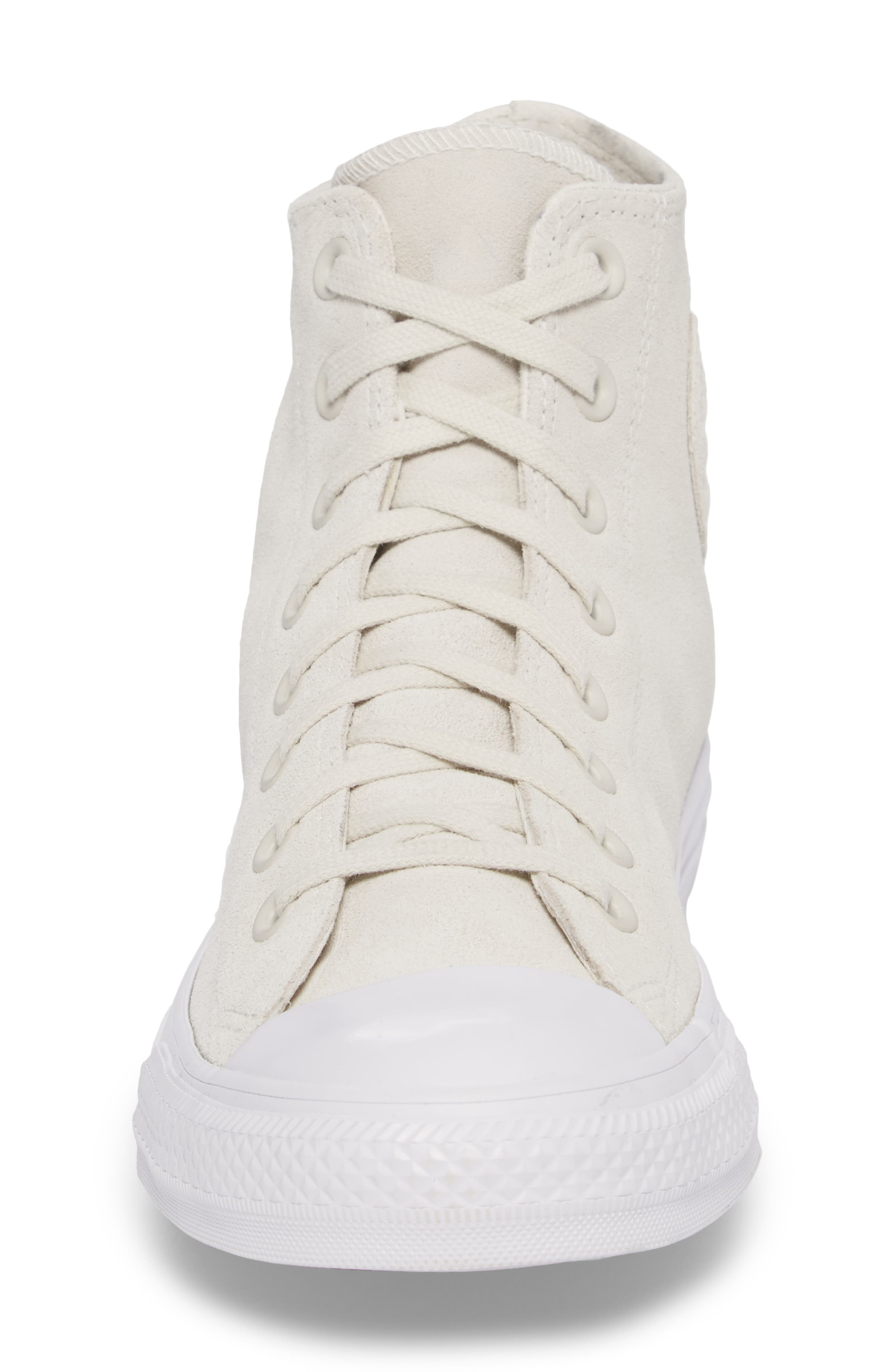 Chuck Taylor<sup>®</sup> All Star<sup>®</sup> Plush Hi Sneaker,                             Alternate thumbnail 4, color,                             Buff Suede
