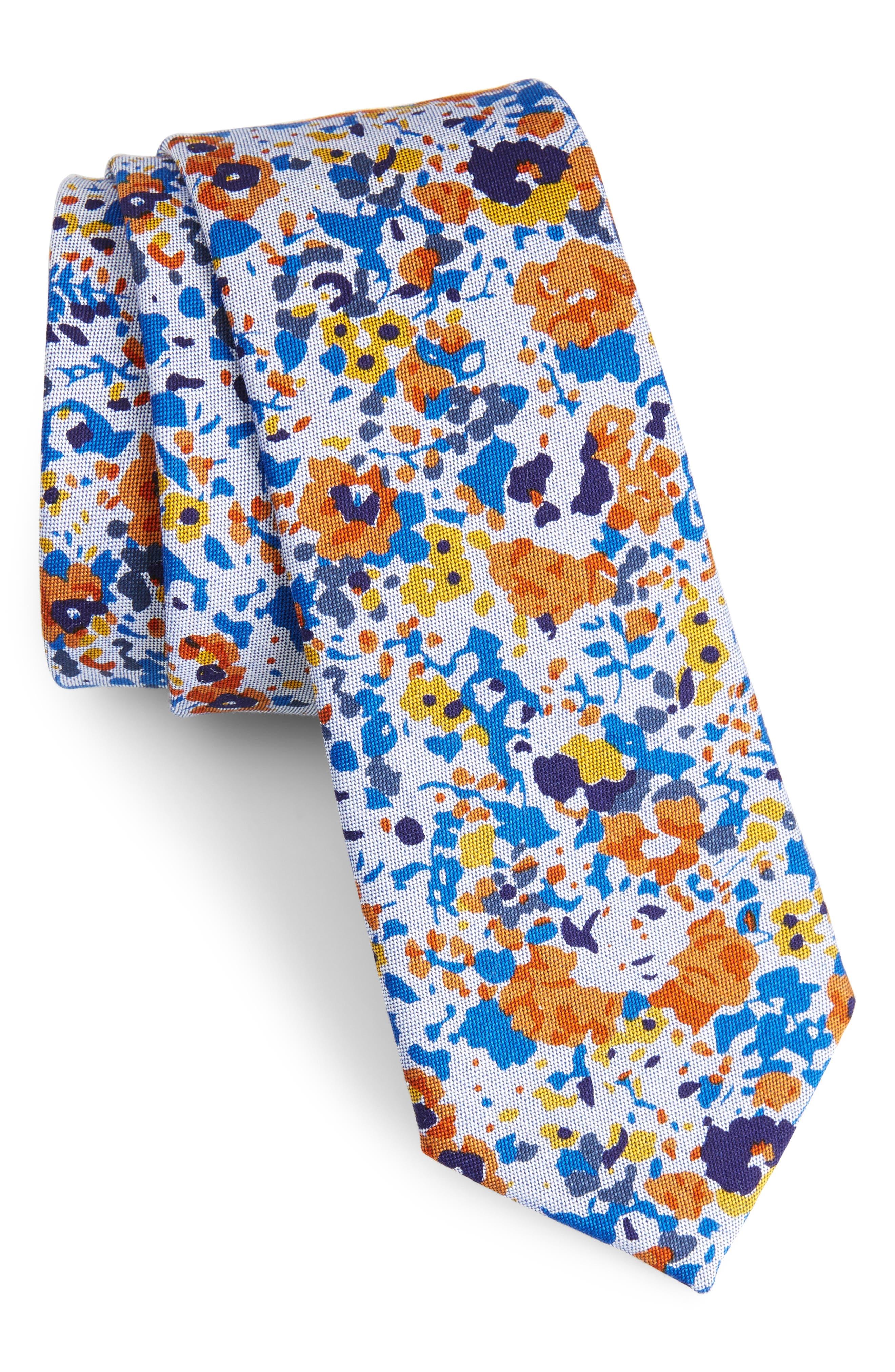 Ajax Floral Cotton Skinny Tie,                             Main thumbnail 1, color,                             Orange