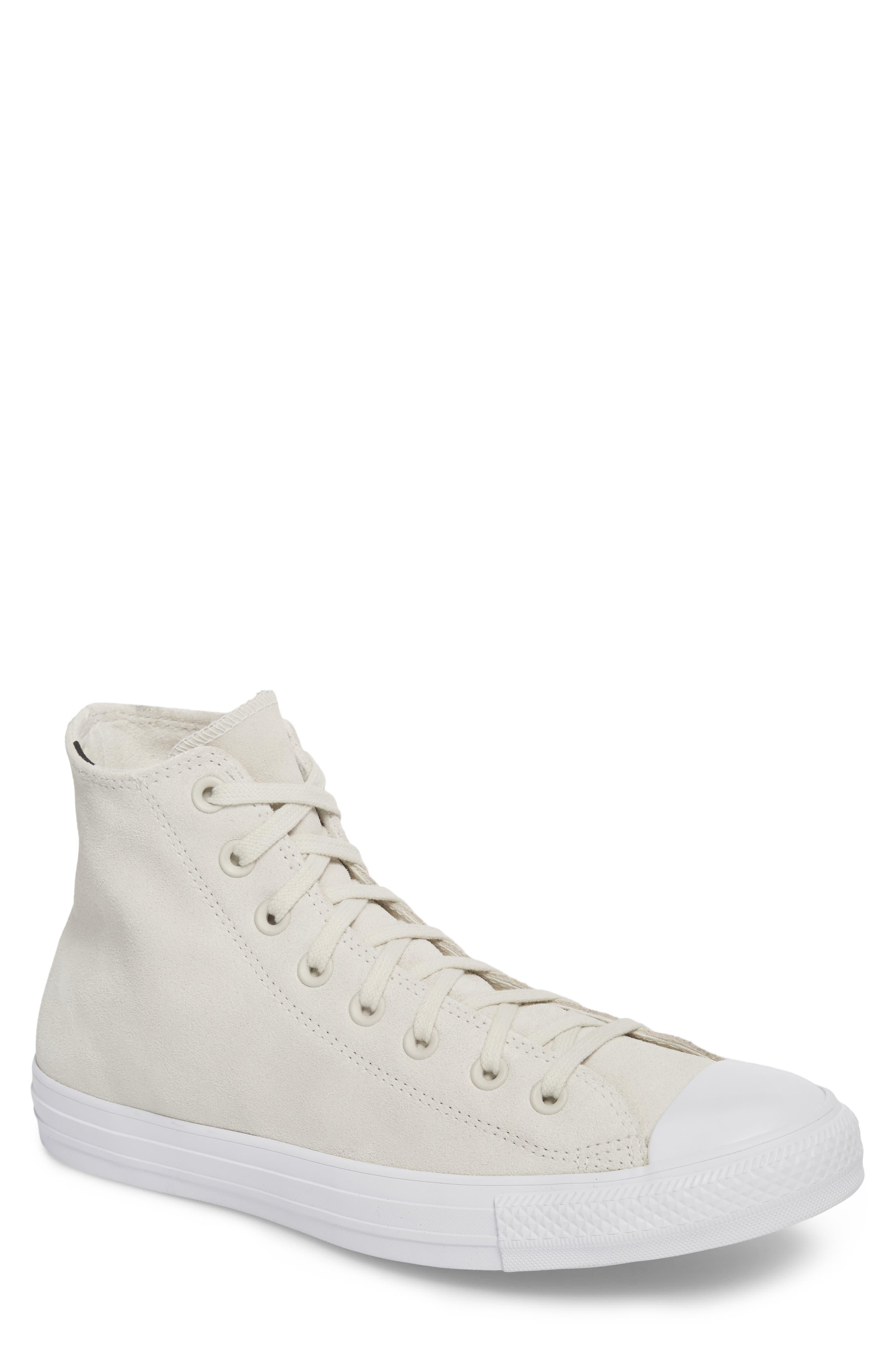 Chuck Taylor<sup>®</sup> All Star<sup>®</sup> Plush Hi Sneaker,                             Main thumbnail 1, color,                             Buff Suede