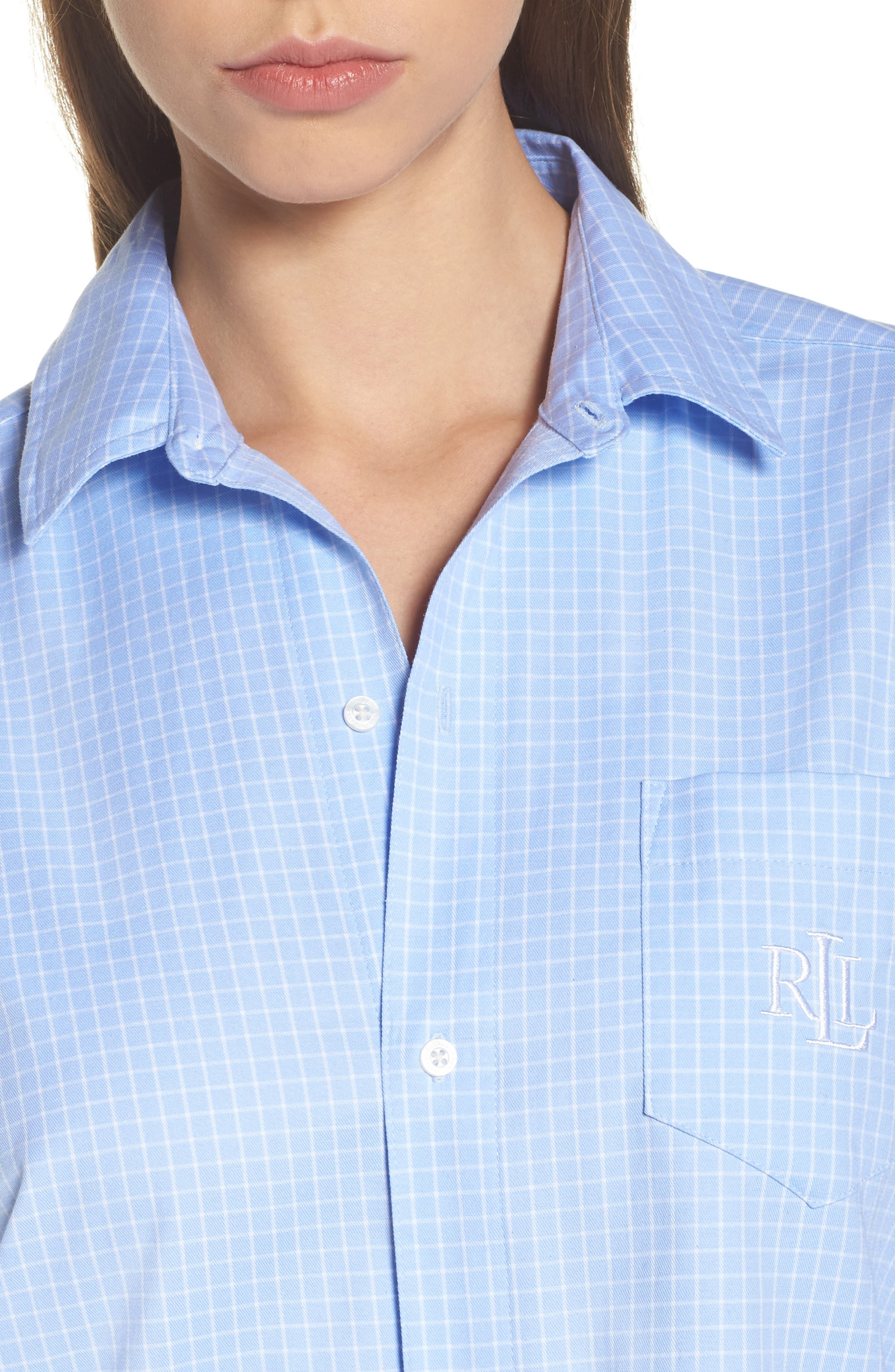 Alternate Image 5  - Lauren Ralph Lauren Stretch Cotton Sleep Shirt