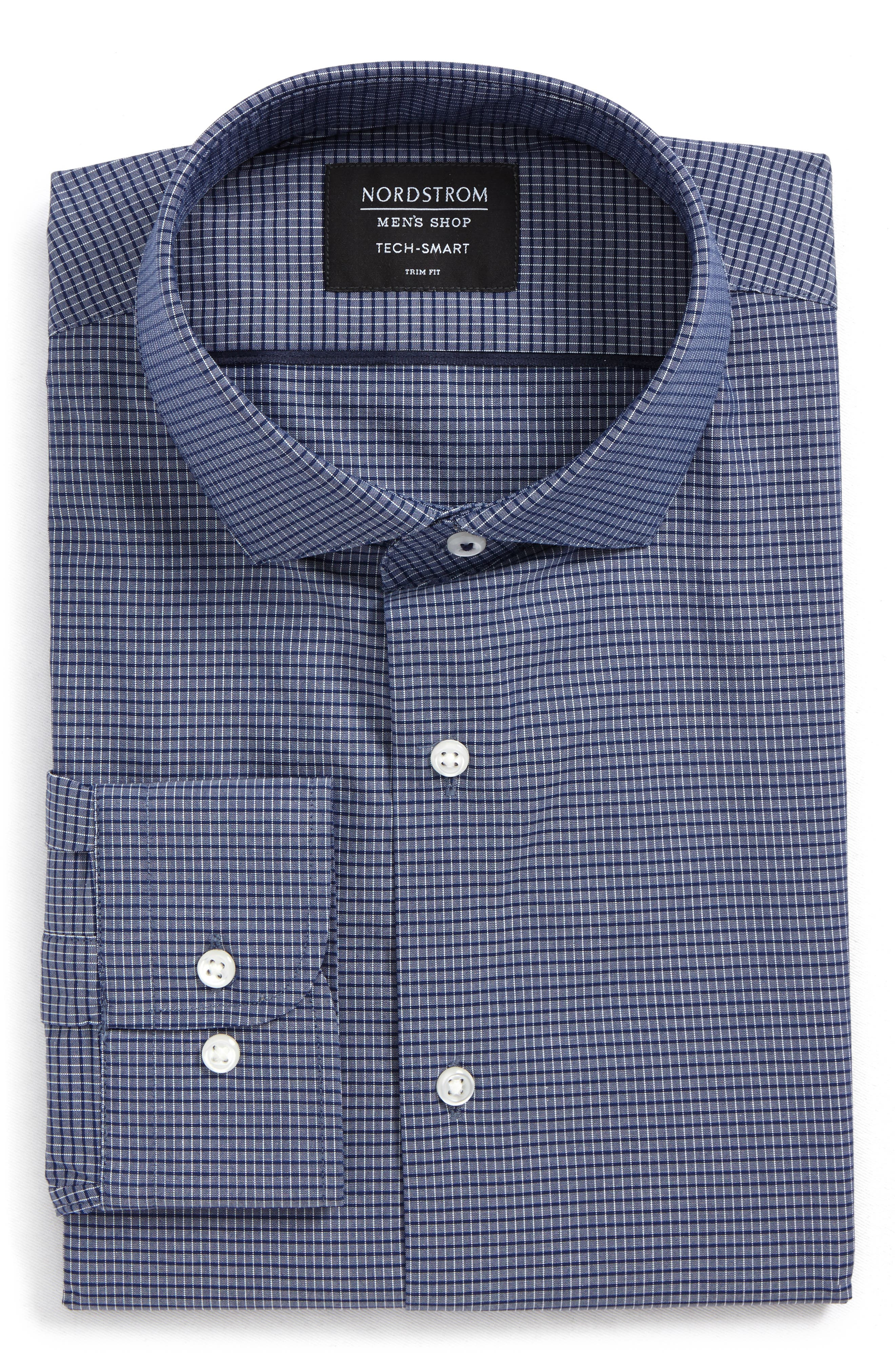 Alternate Image 6  - Nordstrom Men's Shop Tech-Smart Trim Fit Stretch Check Dress Shirt