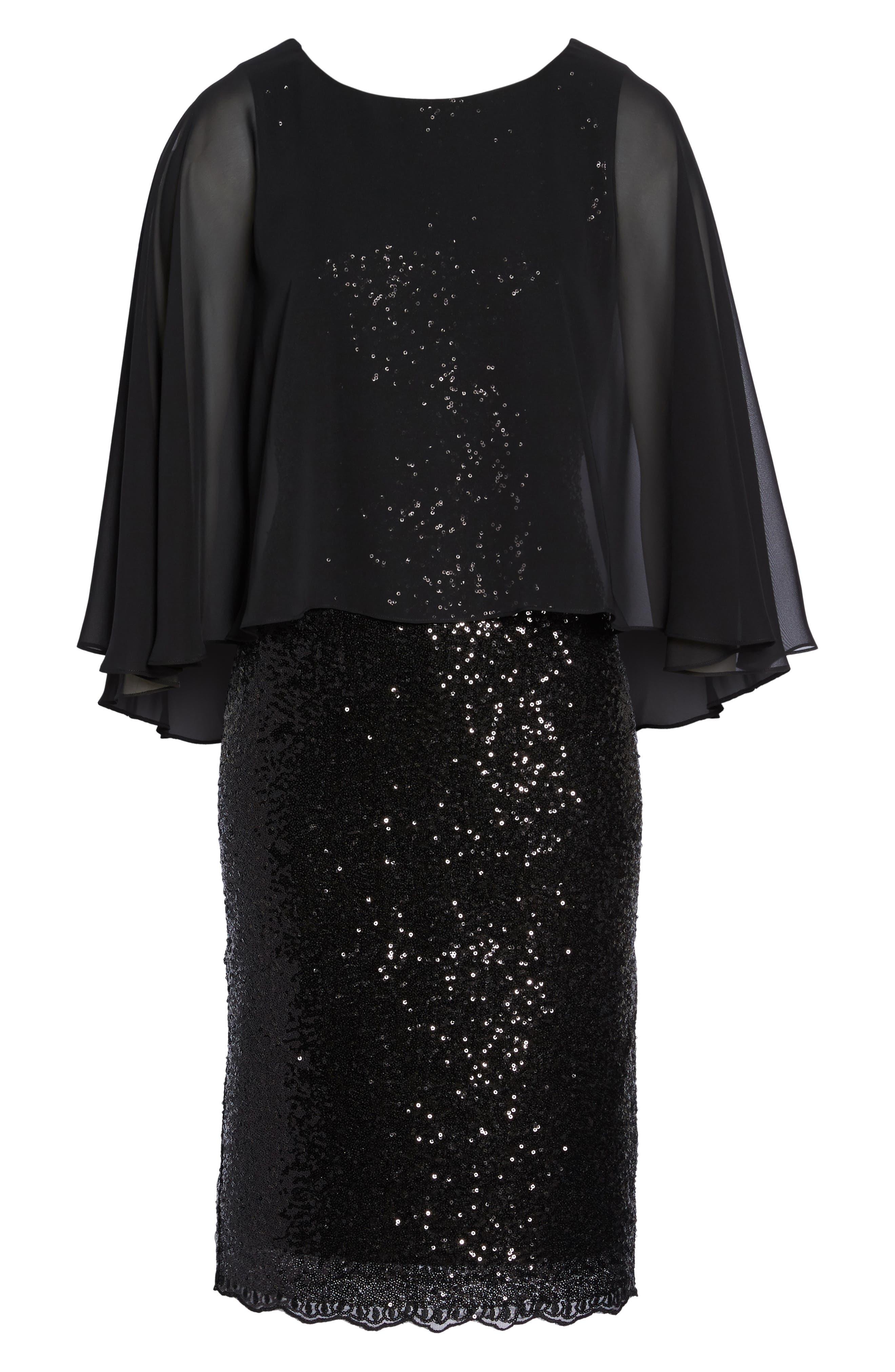 Alternate Image 6  - Alex Evenings Capelet Sequin Shift Dress