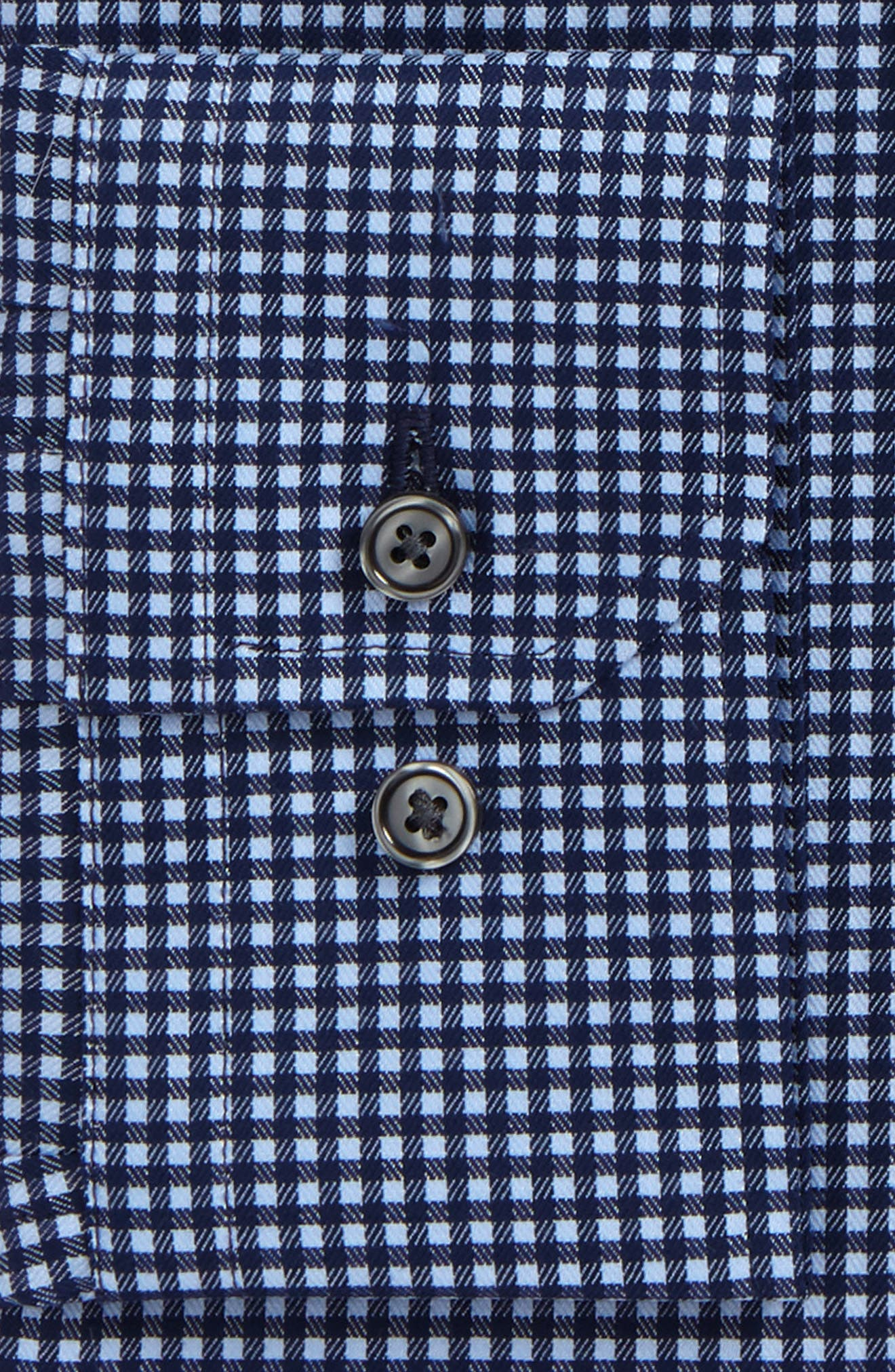 Trim Fit Non-Iron Check Dress Shirt,                             Alternate thumbnail 2, color,                             Navy Medieval