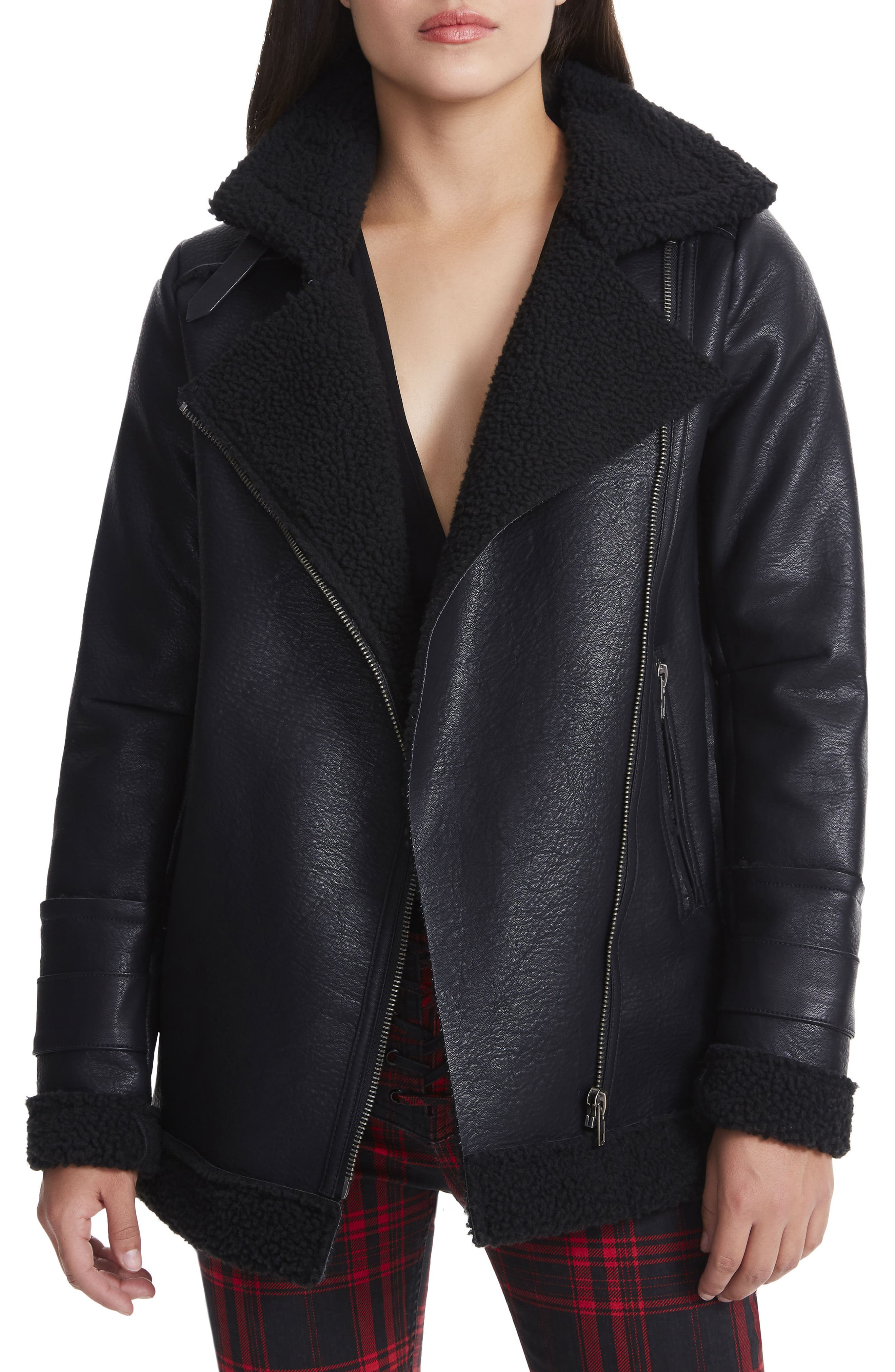 Opelia Oversize Faux Shearling Jacket,                         Main,                         color, Noir