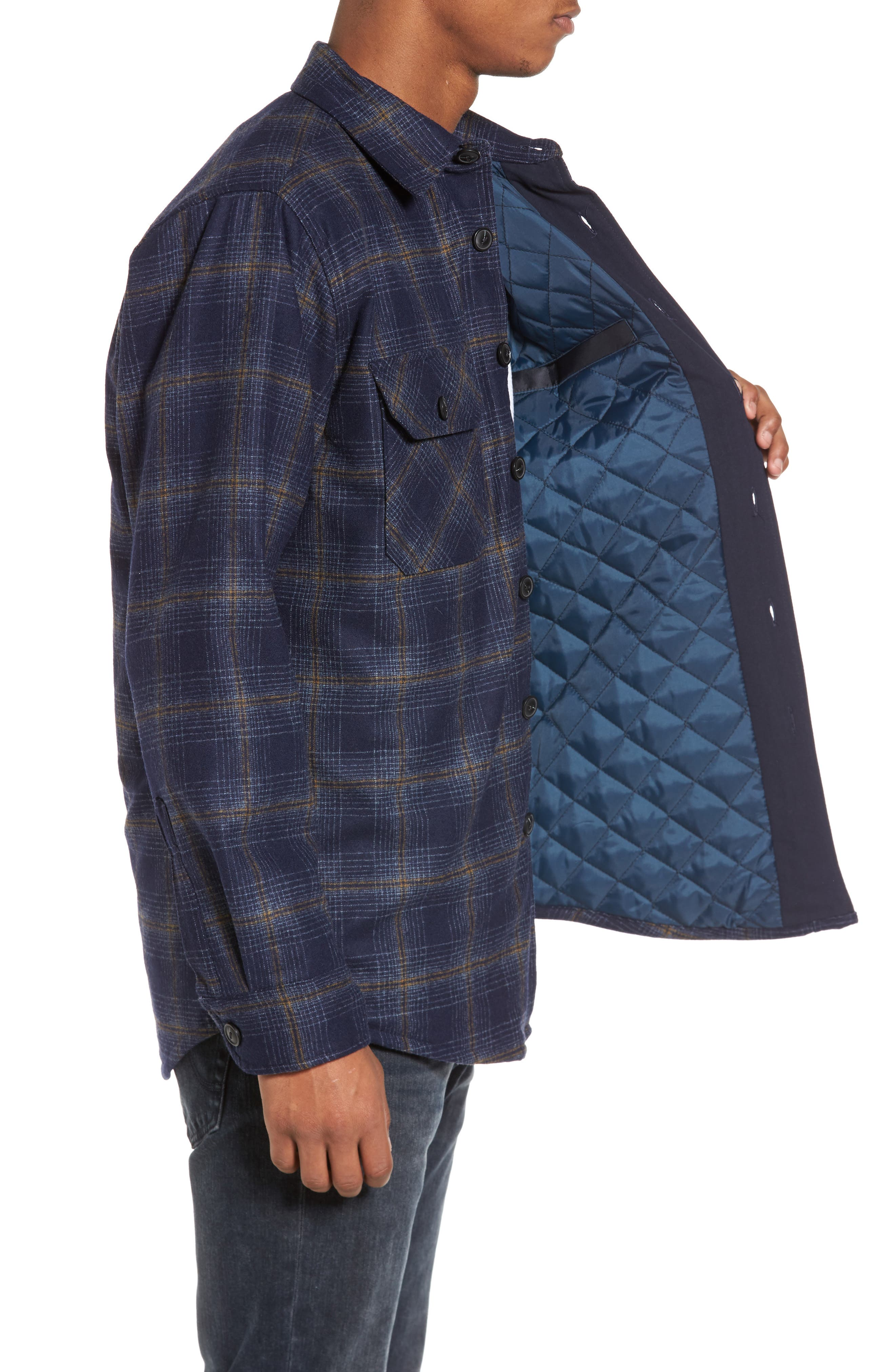 Quilted Wool Shirt Jacket,                             Alternate thumbnail 3, color,                             Navy/ Bronze Ombre
