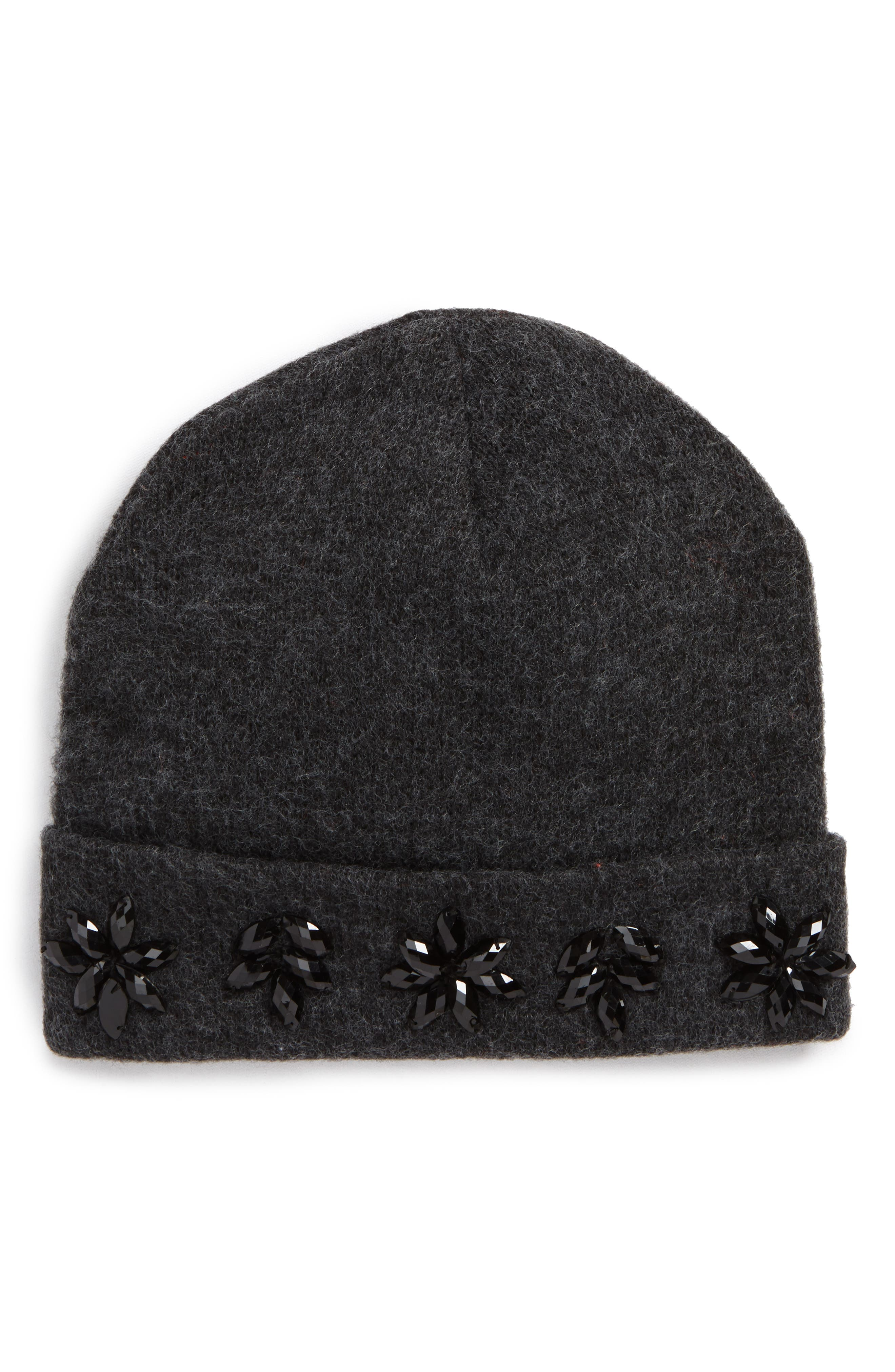 Crystal Embellished Beanie,                             Main thumbnail 1, color,                             Charcoal