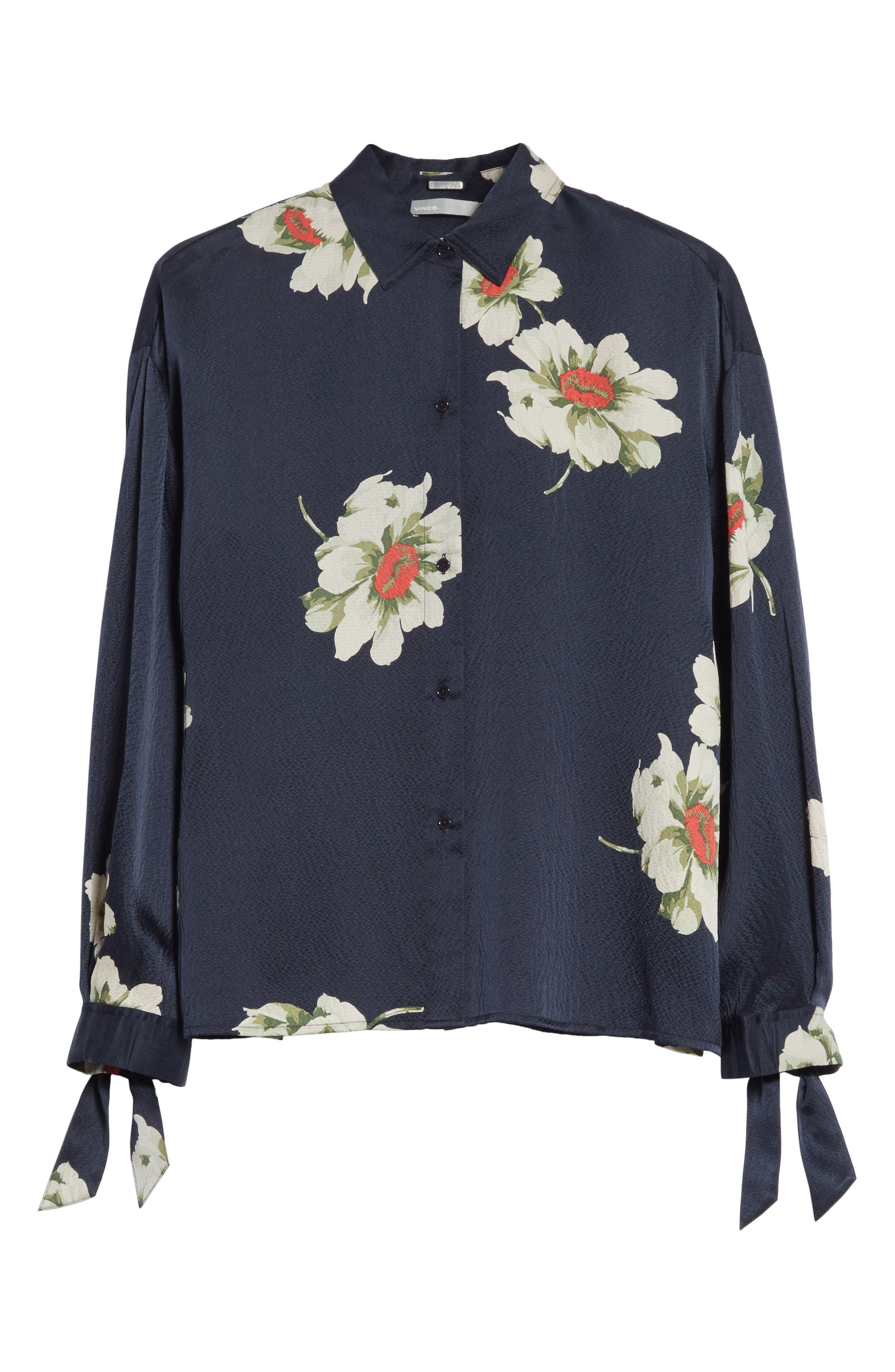 Gardenia Floral Silk Blouse,                             Alternate thumbnail 6, color,                             Coastal