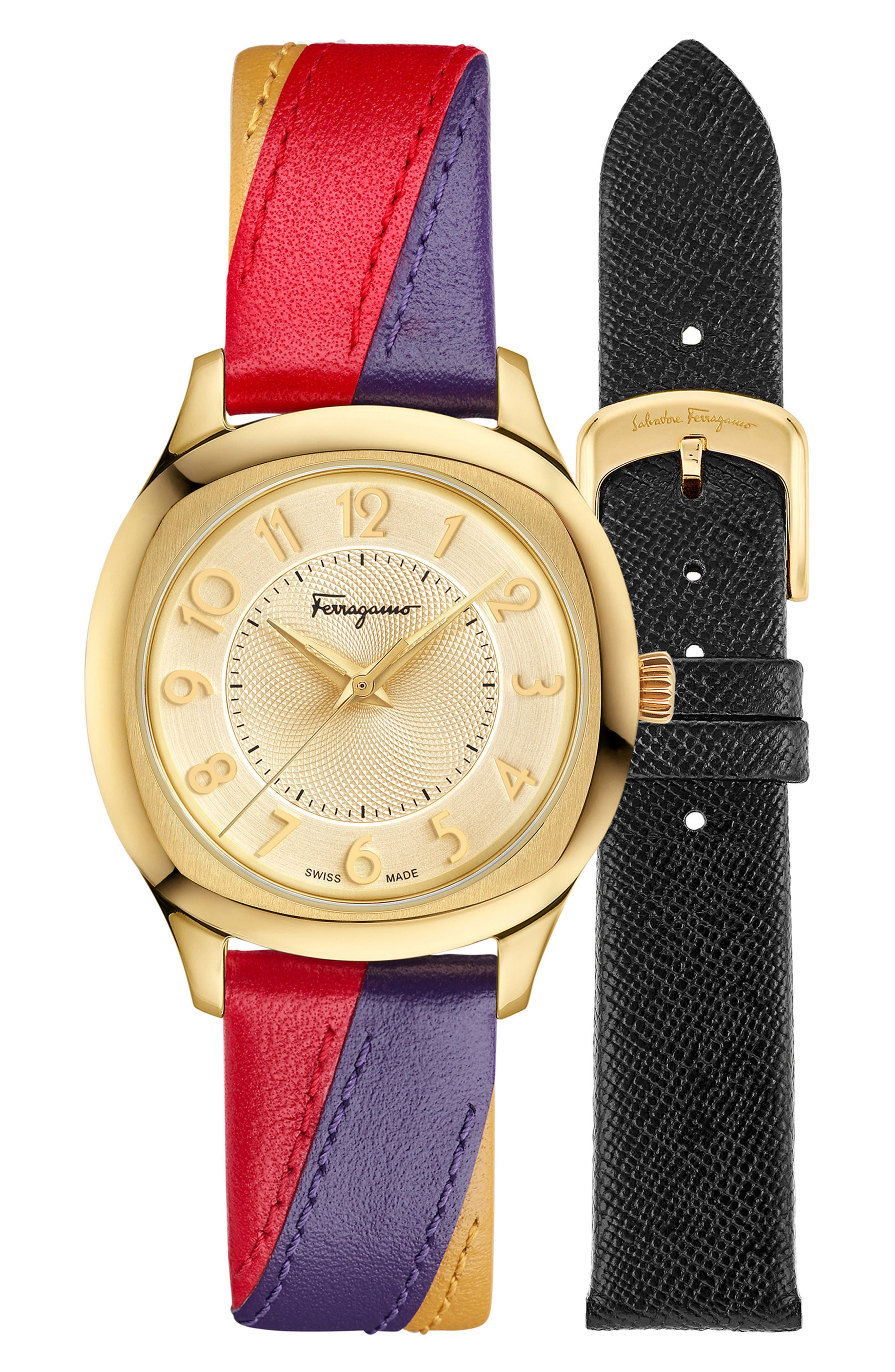 Time Square Leather Strap Watch, 36mm,                             Alternate thumbnail 5, color,                             Multi/ Gold