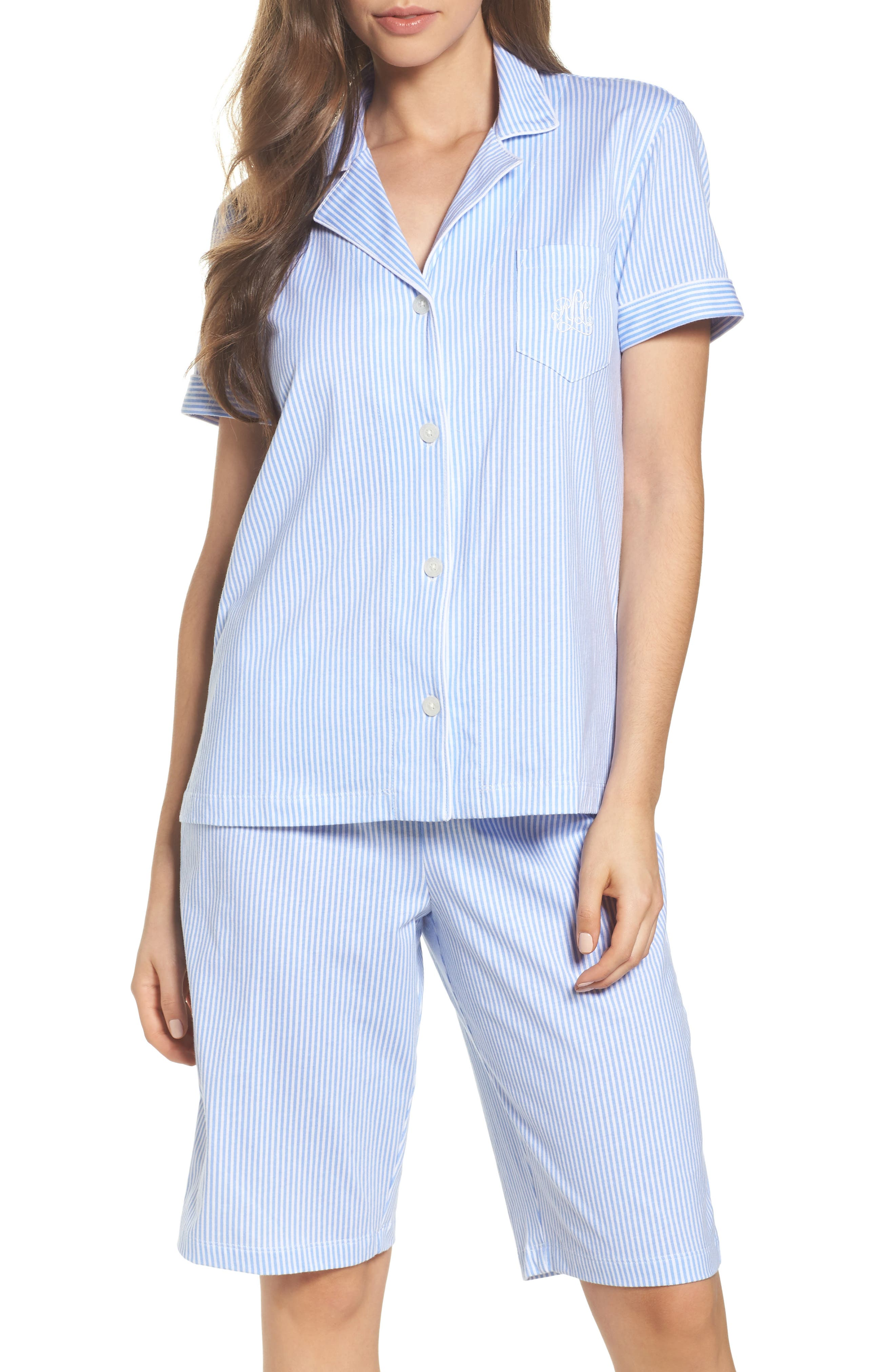 Bermuda Pajamas,                             Main thumbnail 1, color,                             Feather Blue Stripe