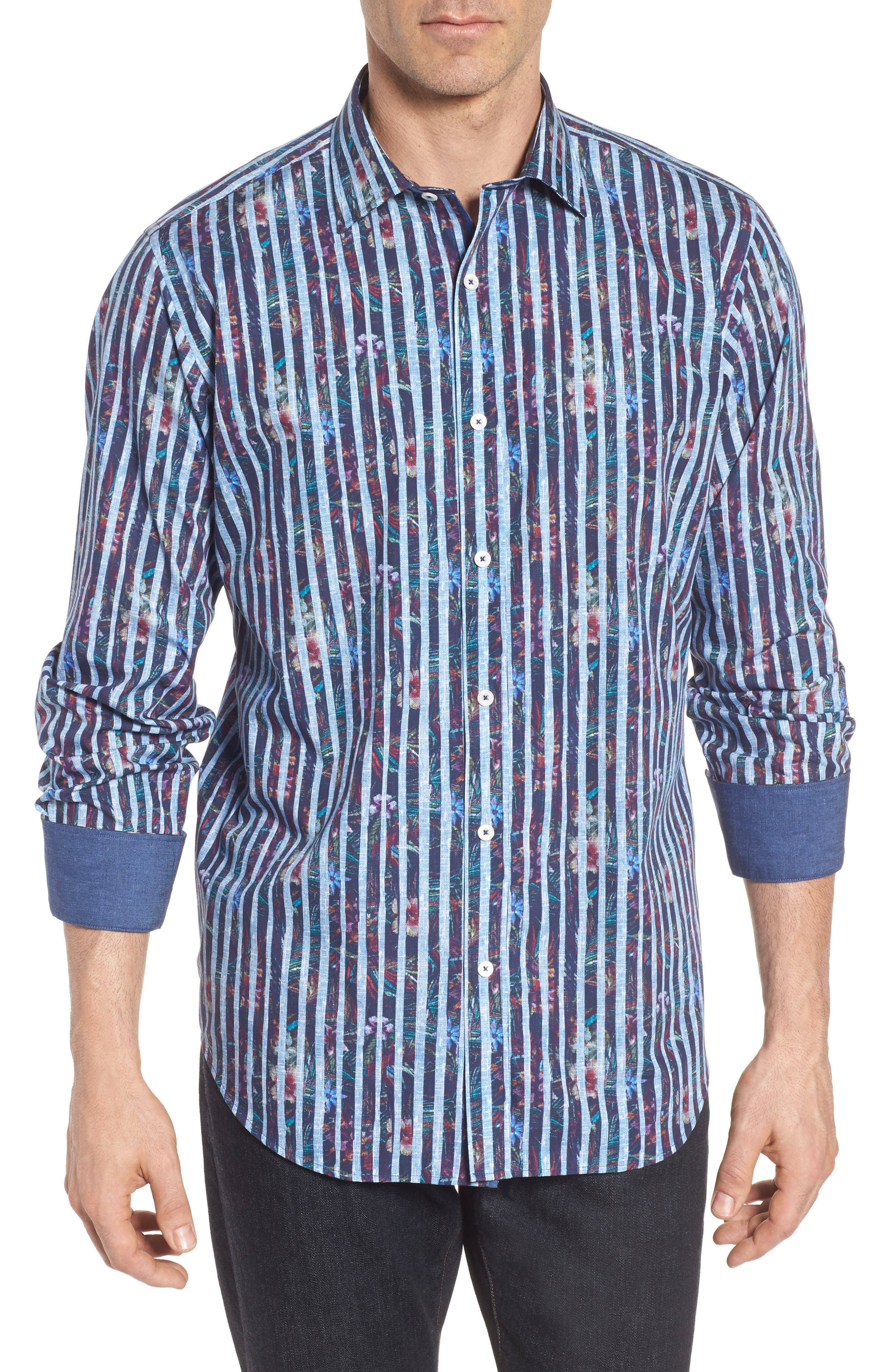Classic Fit Stripe Sport Shirt,                             Main thumbnail 1, color,                             Midnight