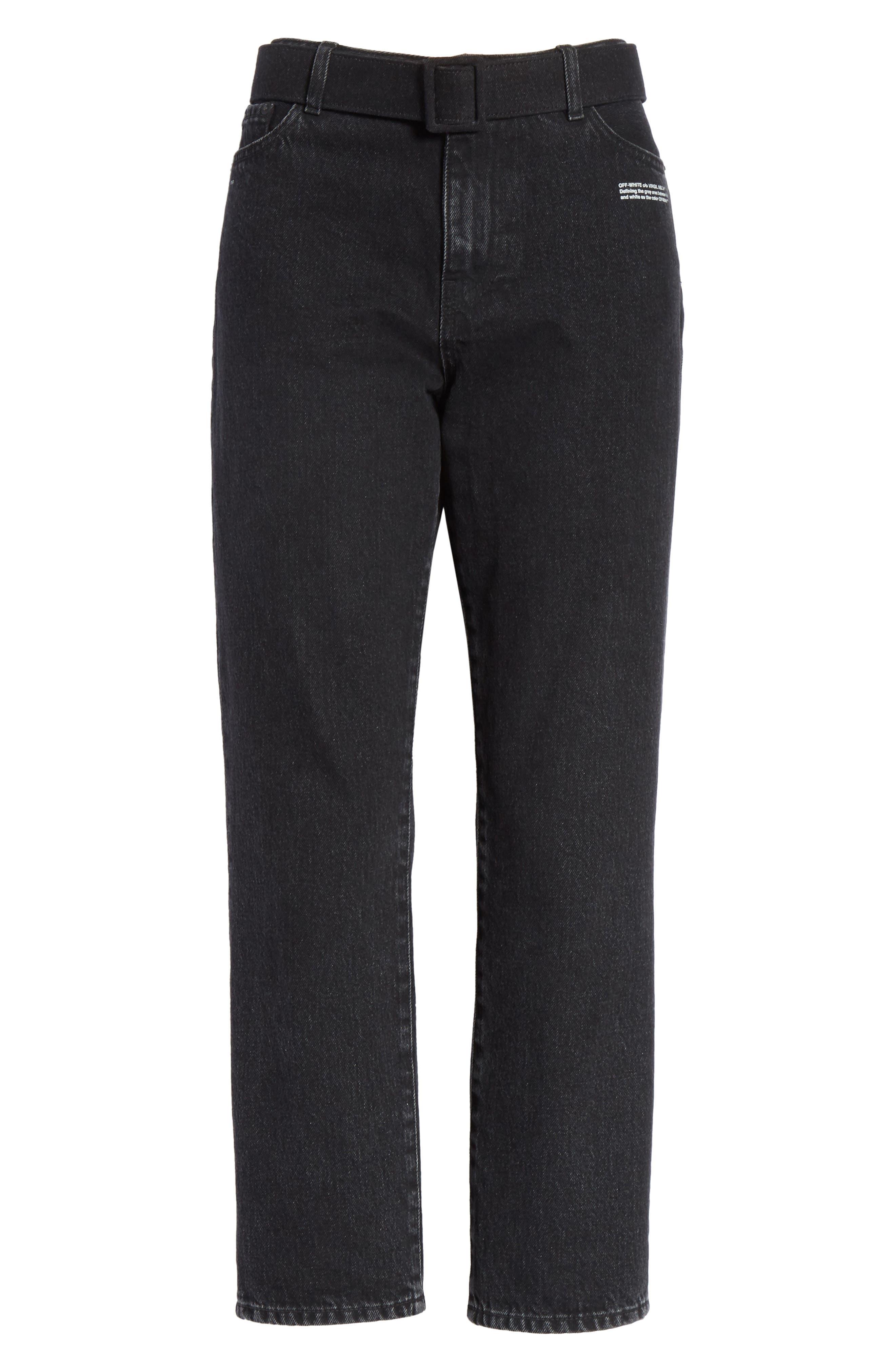 Belted Jeans,                             Alternate thumbnail 6, color,                             Black Vintage Bla
