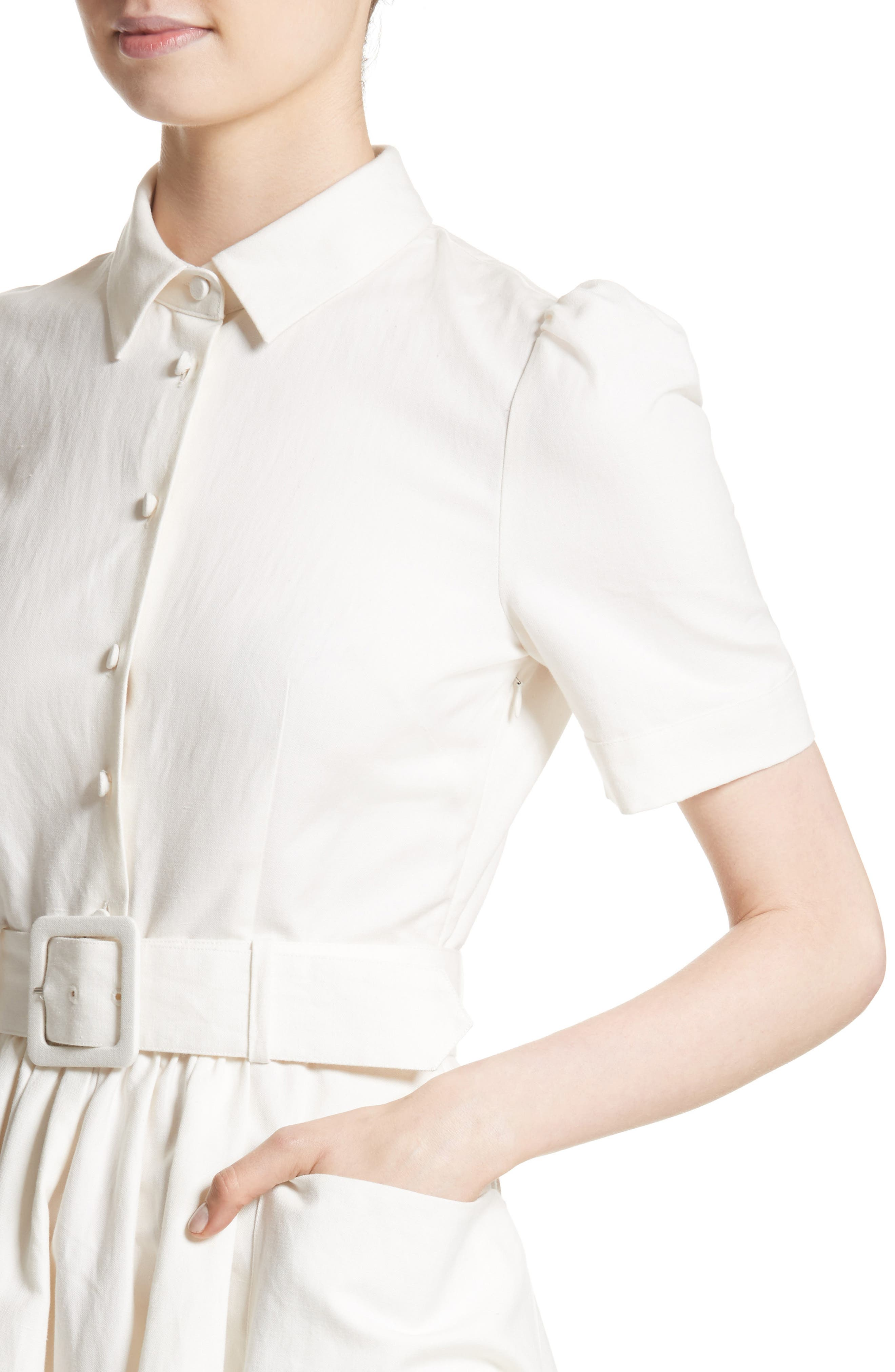 Linen & Cotton Shirtdress,                             Alternate thumbnail 4, color,                             Ivory
