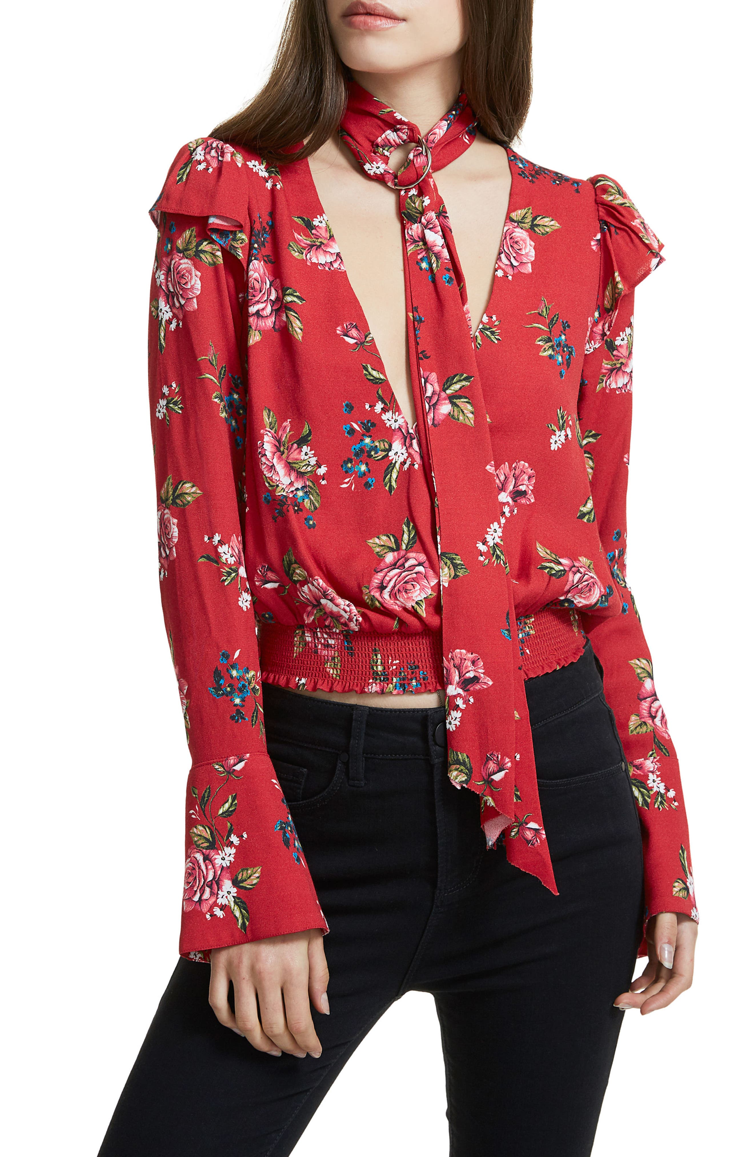 Gigi Blouse With Necktie,                             Main thumbnail 1, color,                             Red Rose