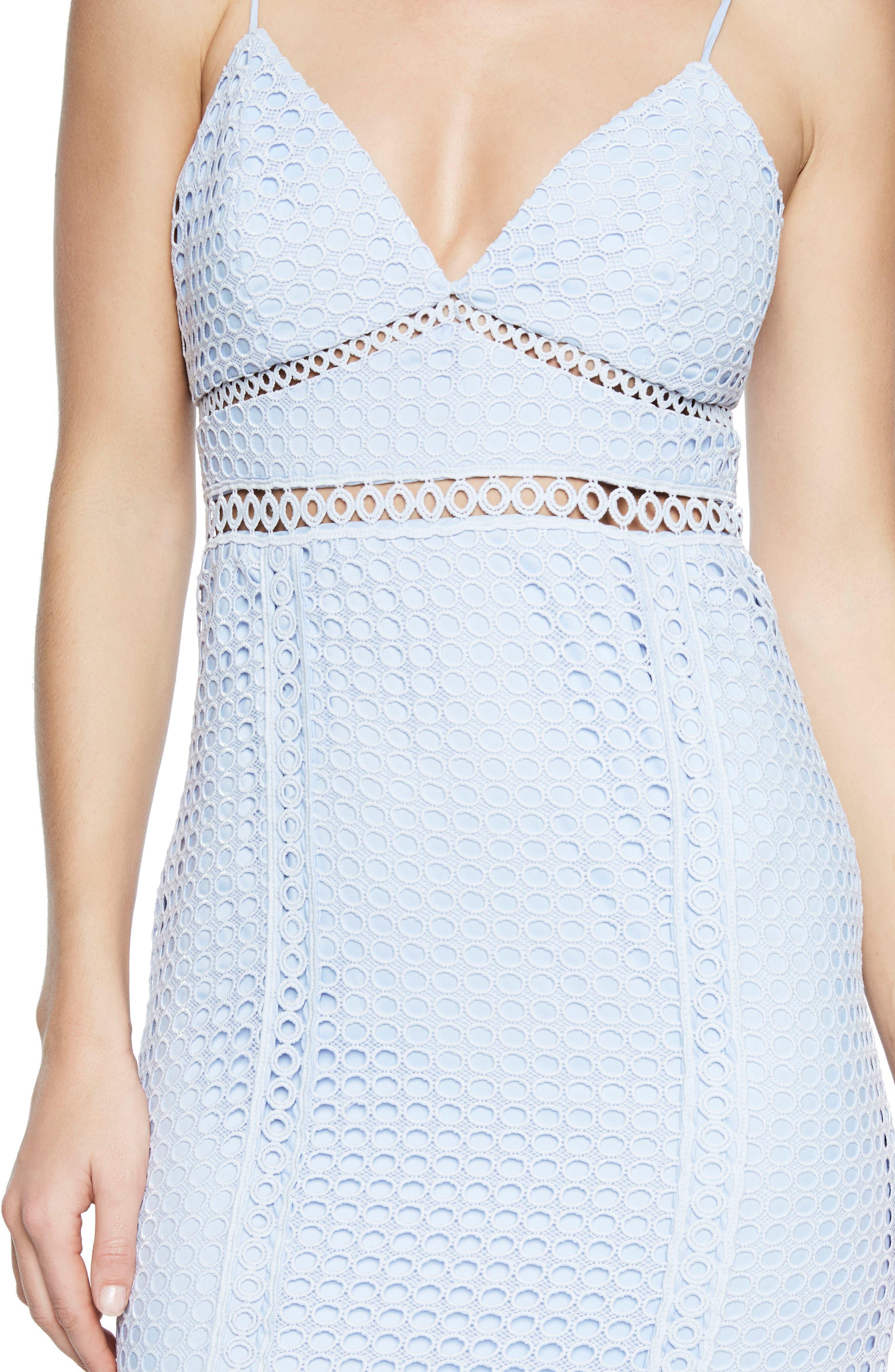 Circle Lace Dress,                             Alternate thumbnail 4, color,                             Steel Blue