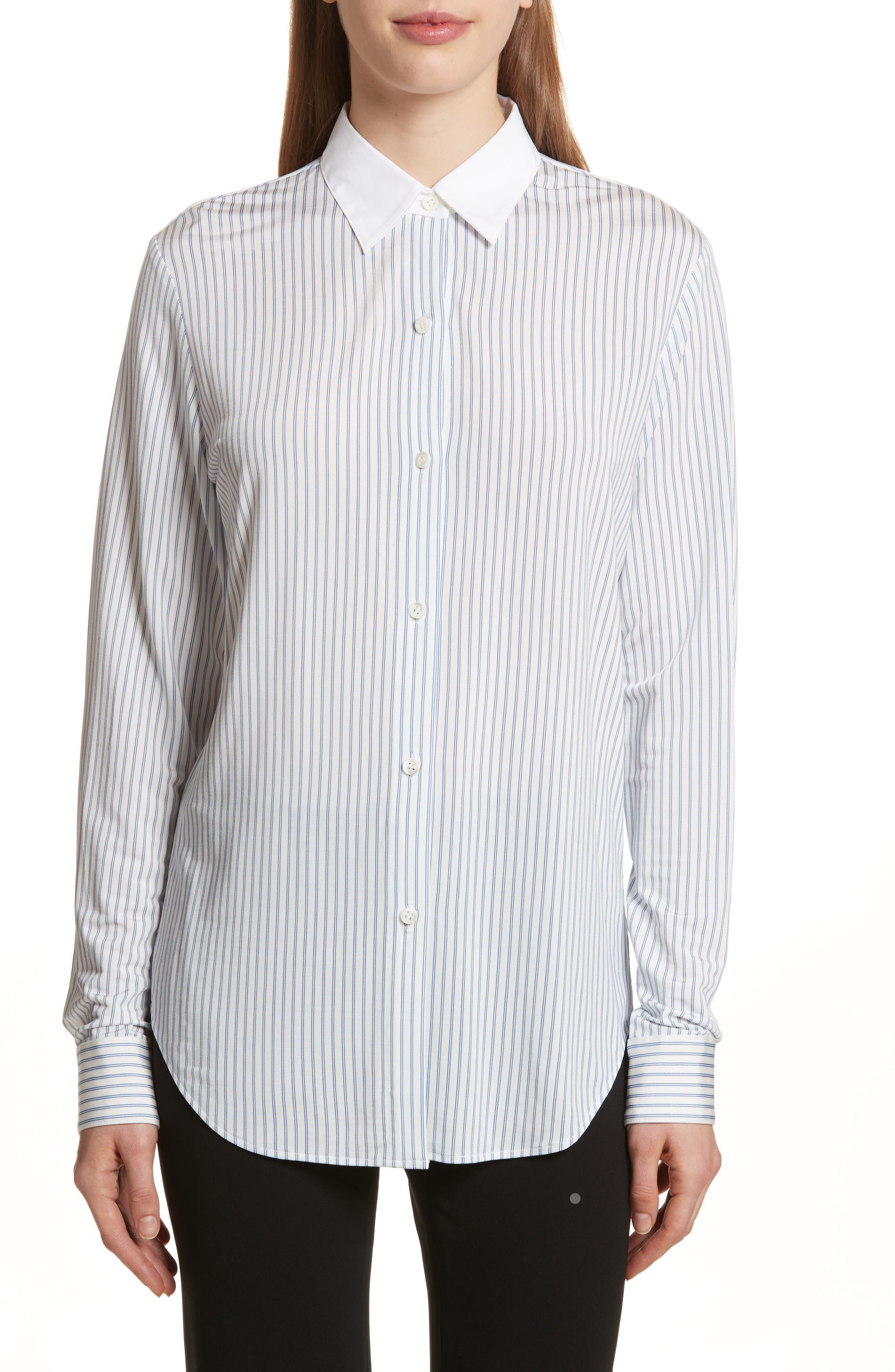 Essential Stripe Jersey Shirt,                         Main,                         color, White/ Blue